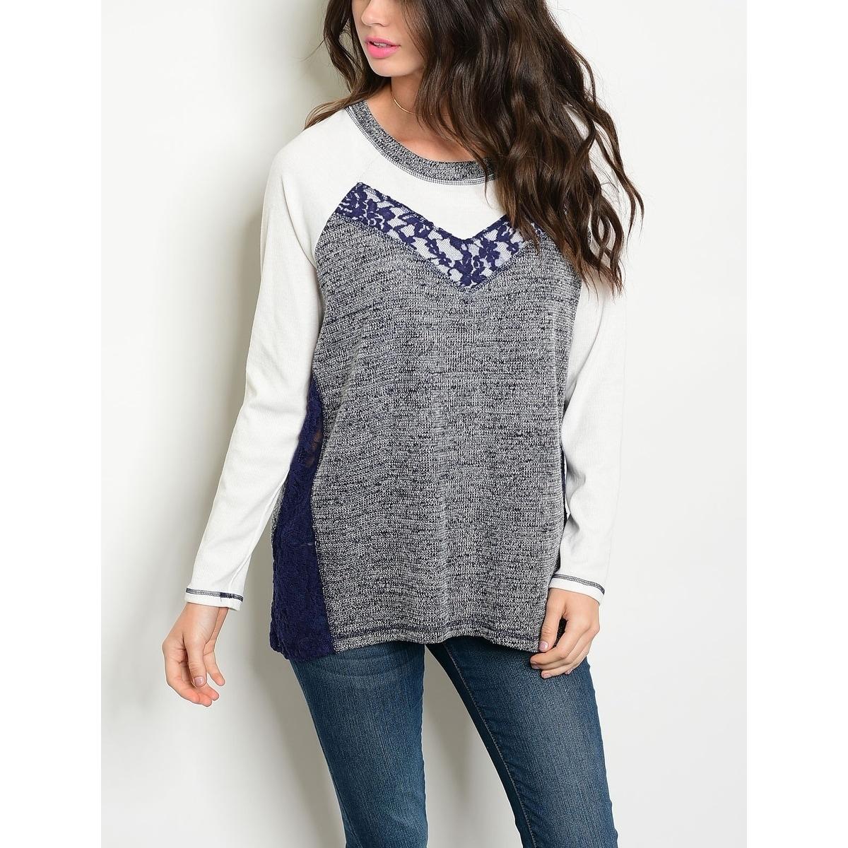 e4ded668ab Shop JED Women s Long Sleeve Lace Insert Light Knit Top - On Sale ...