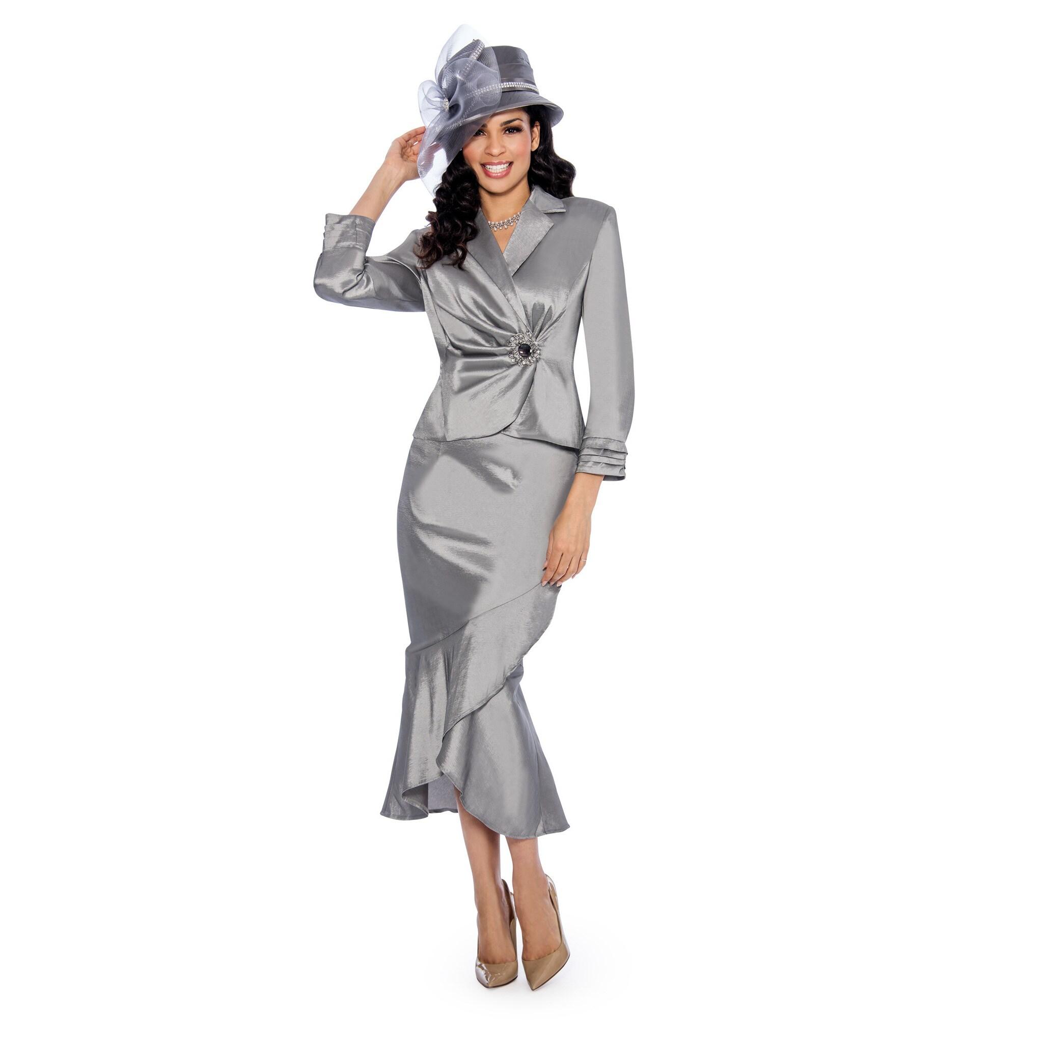 ea5540e5897 Shop Giovanna Signature Women s Stretch Taffeta Rhinestone Buckle 2-Piece Skirt  Suit - Free Shipping Today - Overstock - 16994185