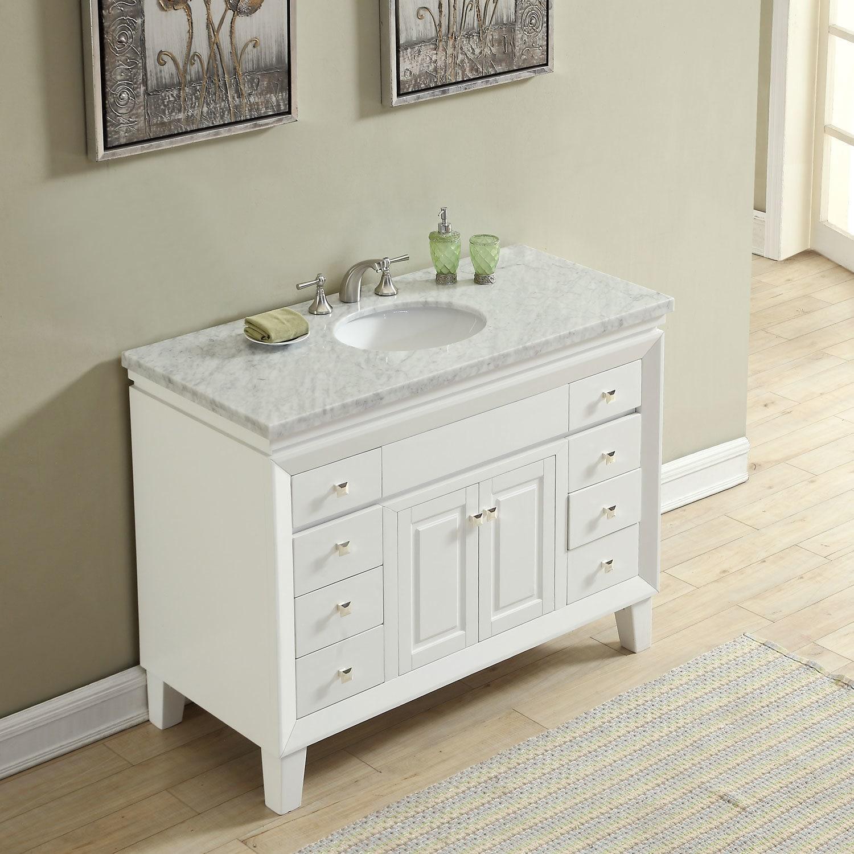 Shop Silkroad Exclusive 48 Transitional Bathroom Vanity Carrara