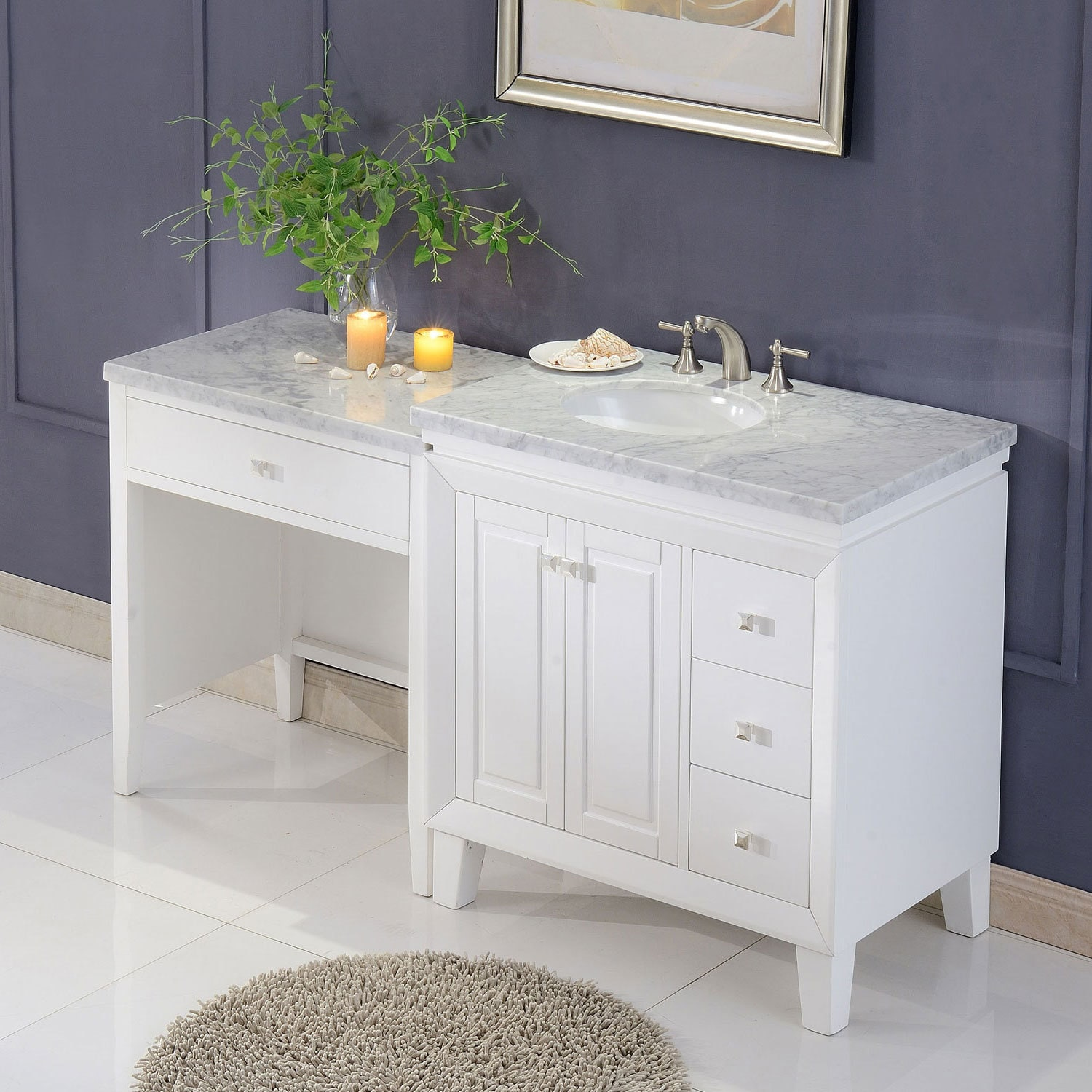 Silkroad Exclusive 67 Transitional Bathroom Vanity Carrara Marble Top Single Sink Cabinet Free Shipping Today 16994321