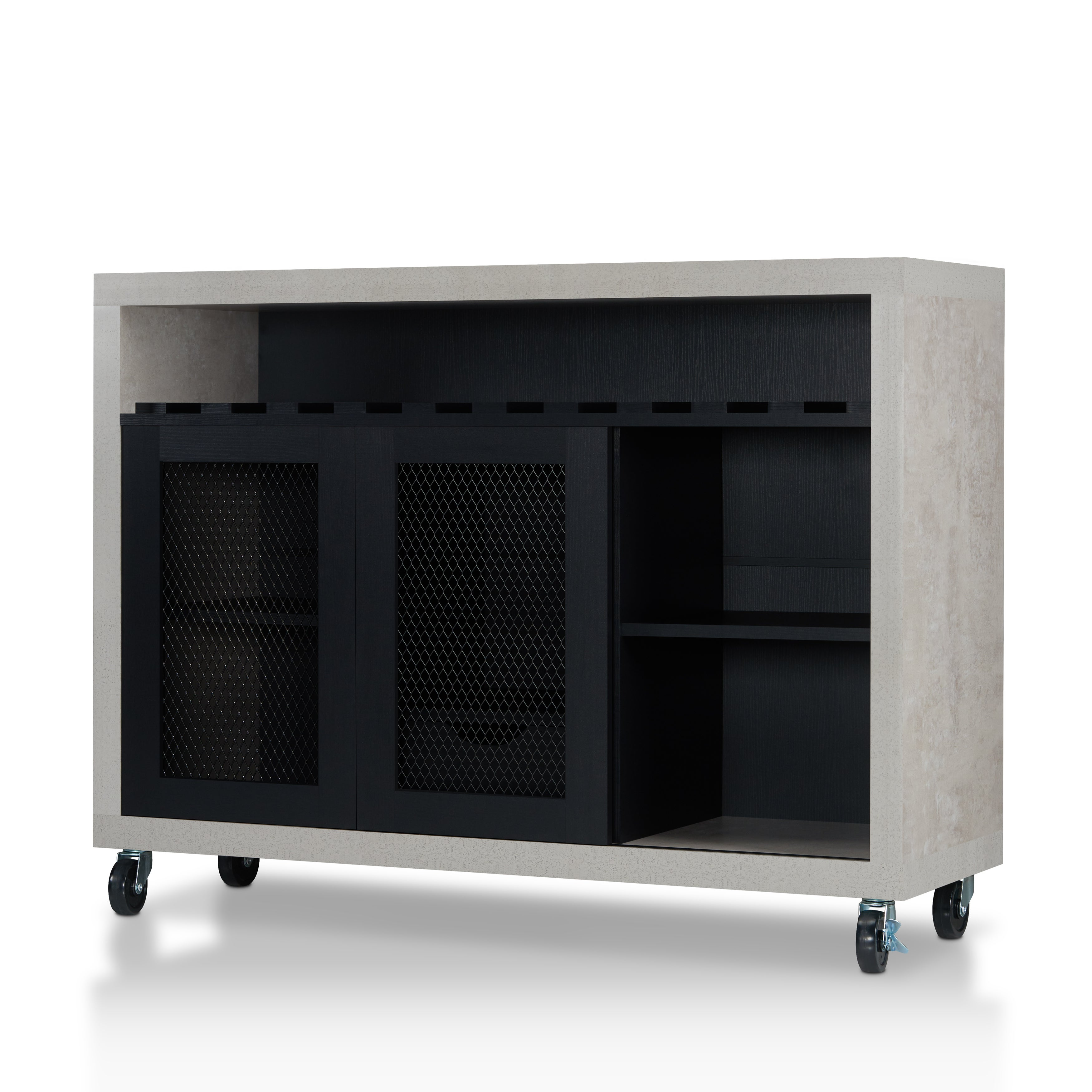 Furniture Of America Gelenan Industrial Cement Like Multi Storage Buffet    Free Shipping Today   Overstock.com   23277466