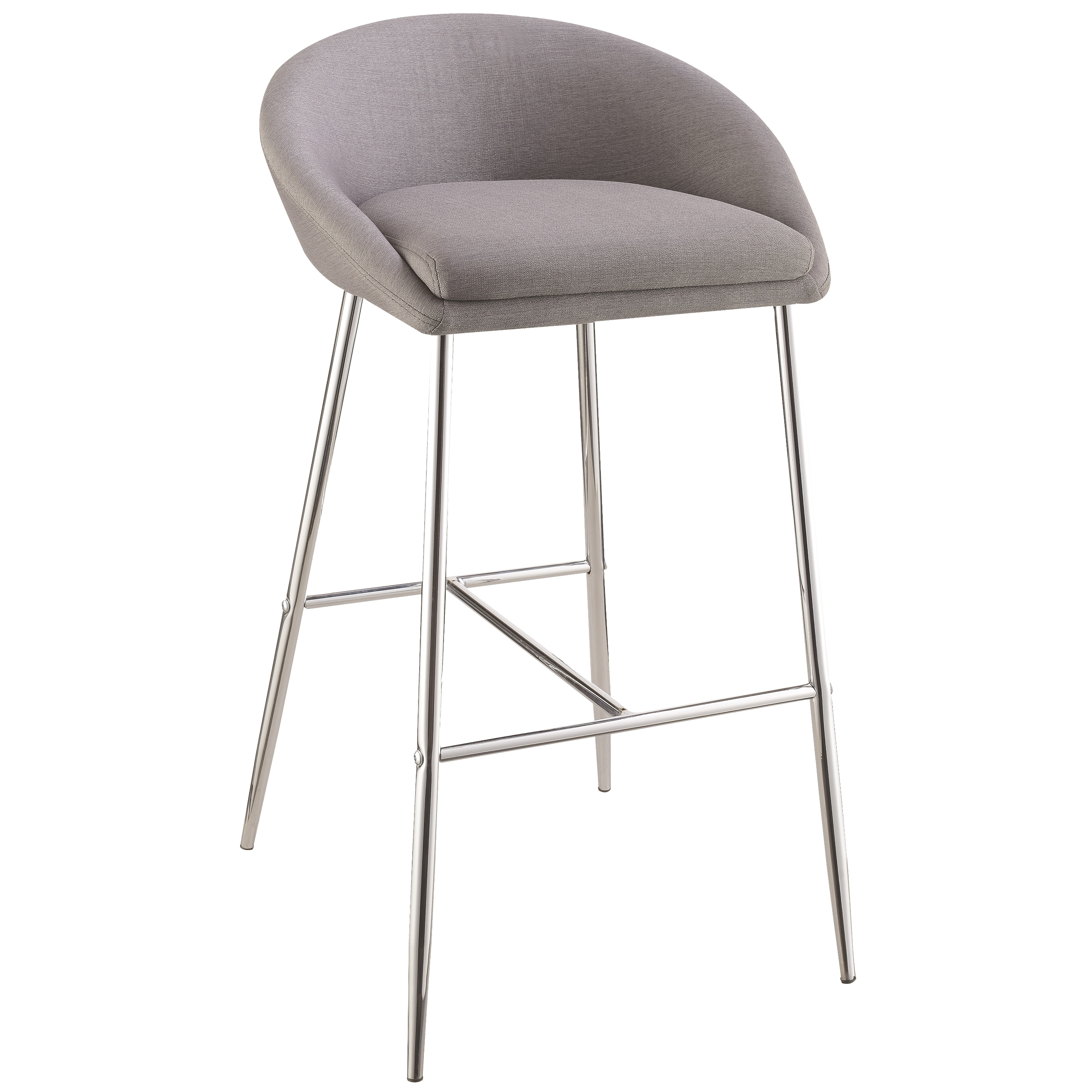 Modern Design Grey Woven Fabric Bar Stools With Sleek Chrome Base (Set Of  2)   Free Shipping Today   Overstock.com   23277928 Images