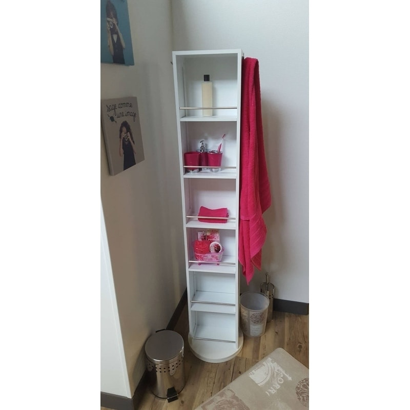 Charmant Shop Evideco Swivel Storage Cabinet Organizer Linen Tower With Mirror White    Free Shipping Today   Overstock.com   17000778