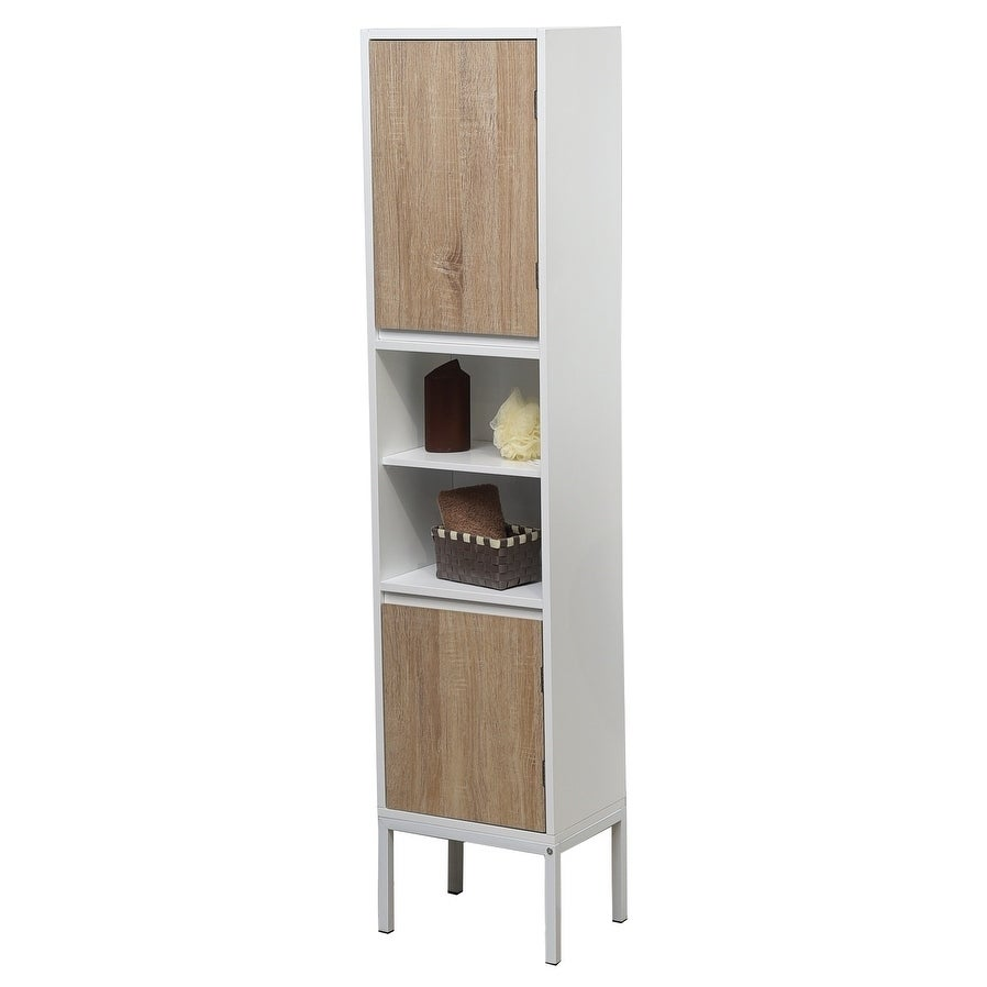 Shop Evideco Bathroom Free Standing Cabinet Linen Tower Montreal Oak ...