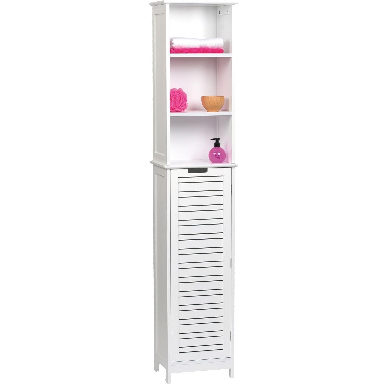 Shop Evideco Bathroom Free Standing Cabinet Linen Tower Miami White ...