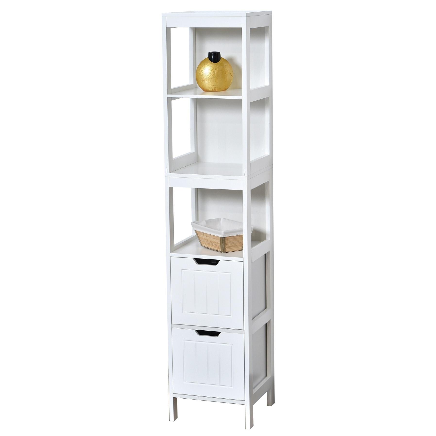 Shop Evideco Bathroom Free Standing Cabinet Linen Tower Cap Ferret ...
