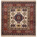 ECarpetGallery Hand-Knotted Royal Kazak Ivory  Wool Rug (5'1 x 5'1)