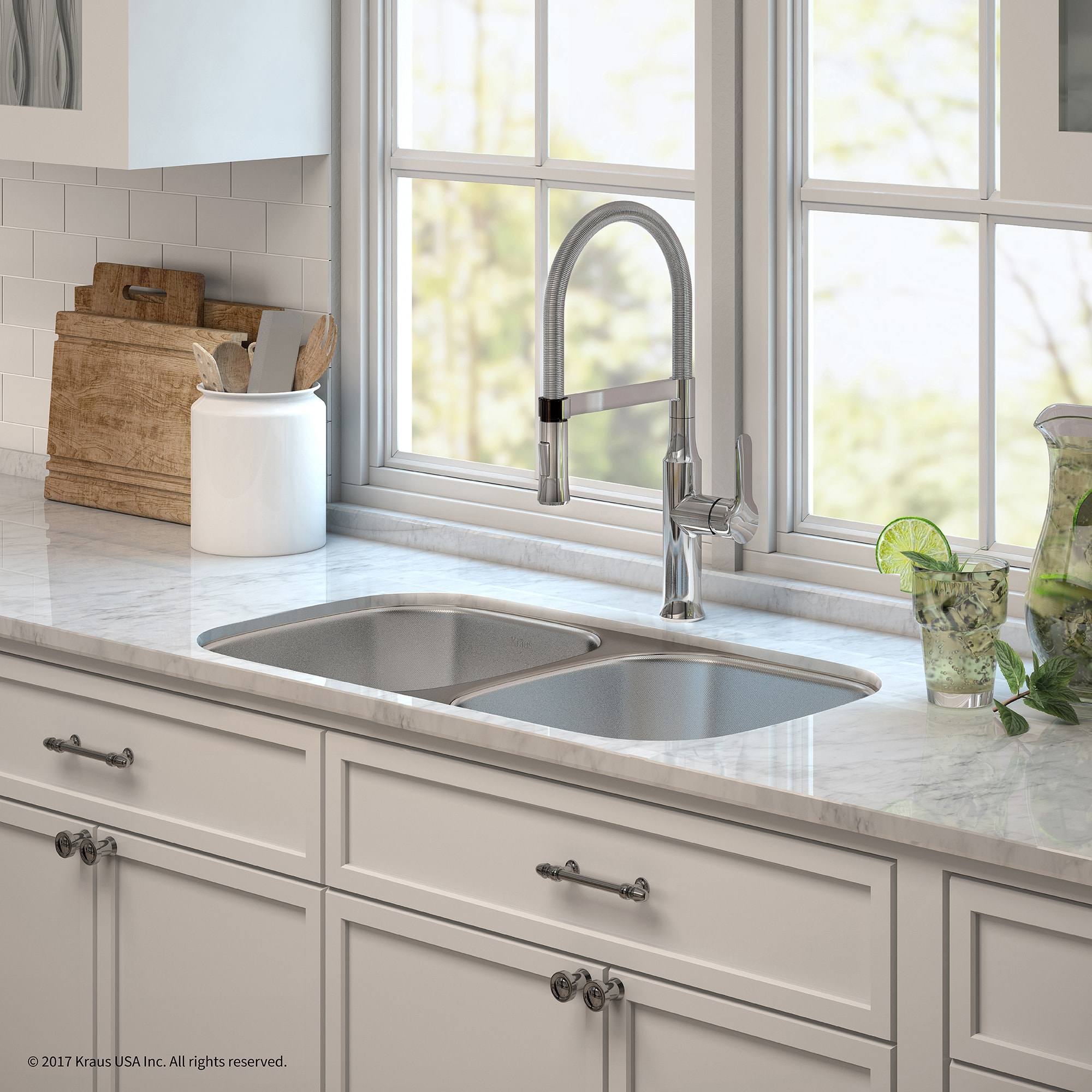 Kraus 32 Inch Undermount Double Bowl Stainless Steel Kitchen Sink Kpf 1640 Nola Commercial Pull Down Faucet Dispenser Free Shipping Today