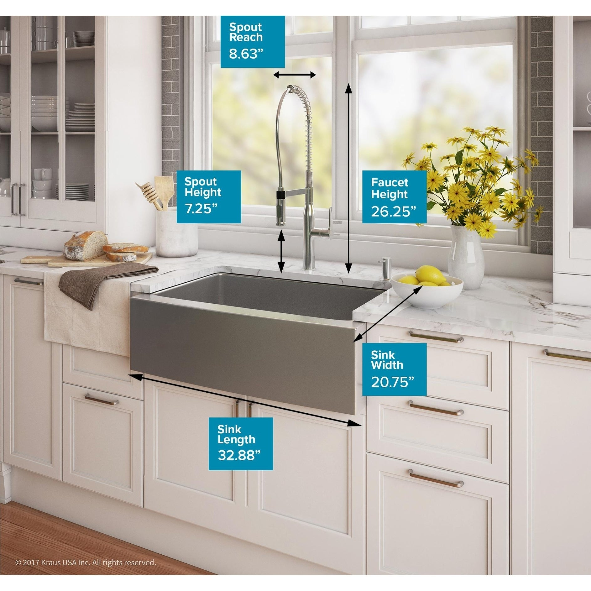 Kraus 33 Inch Farmhouse Single Bowl Stainless Steel Kitchen Sink Kpf 1640 Nola Commercial Pull Down Faucet Dispenser On Free Shipping Today