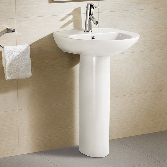Swiss Madison® Pedestal Bathroom Sink Round with Single Faucet ...