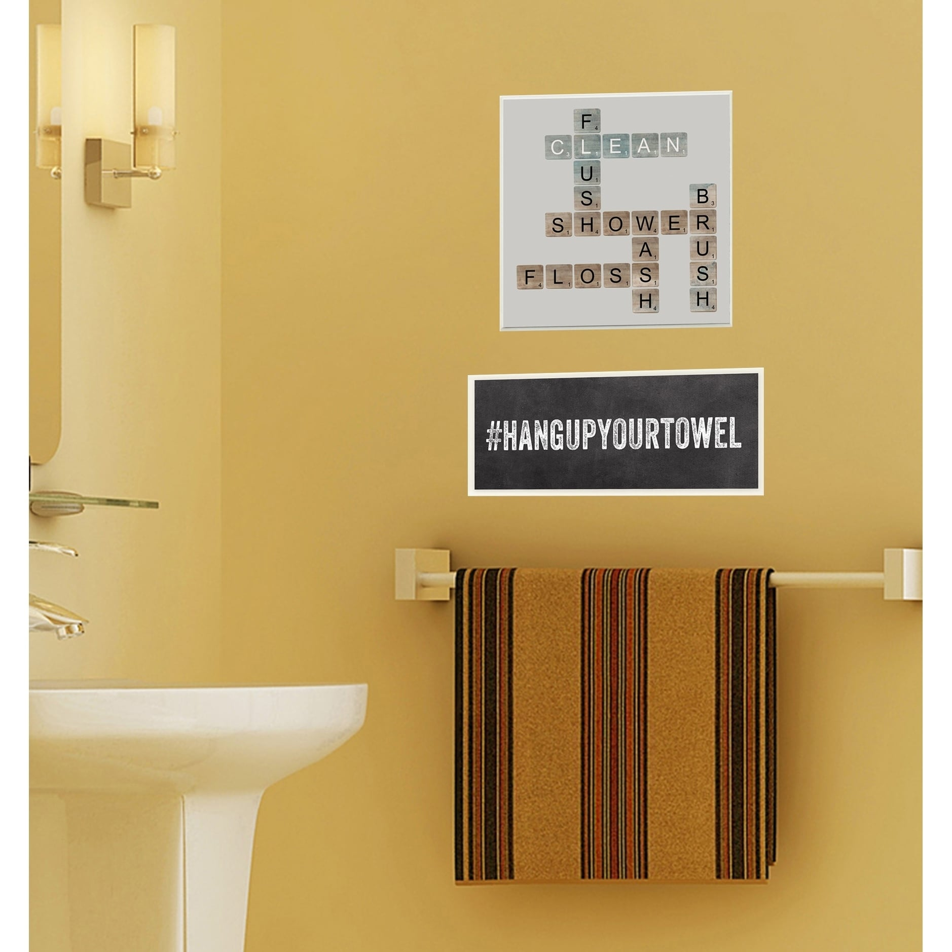 Shop Scrabble Bathroom Illustration Wall Plaque Art - On Sale - Free ...