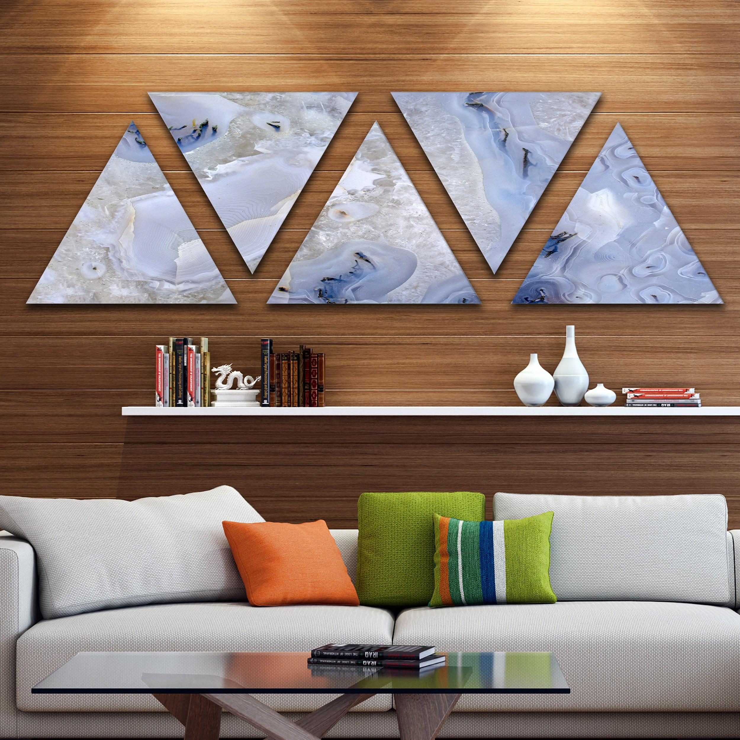 Designart Agate Stone Background Contemporary Triangle Canvas Wall