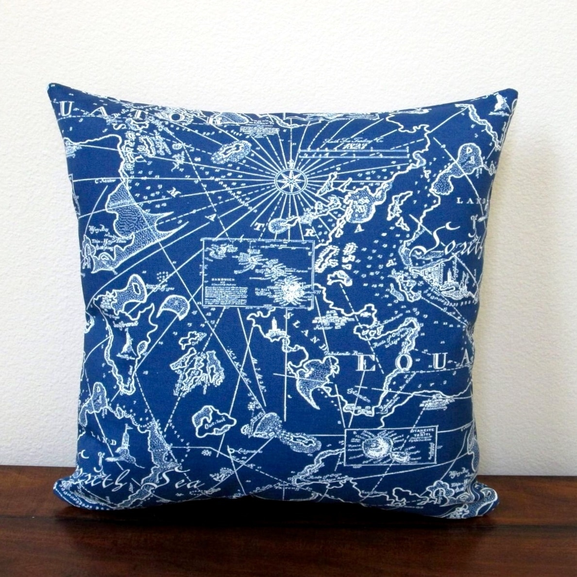 Pillows 18 Inch Indoor Outdoor Coastal Beach Home South Seas Nautical In Navy Blue Pillow Cover Only Set Of 2