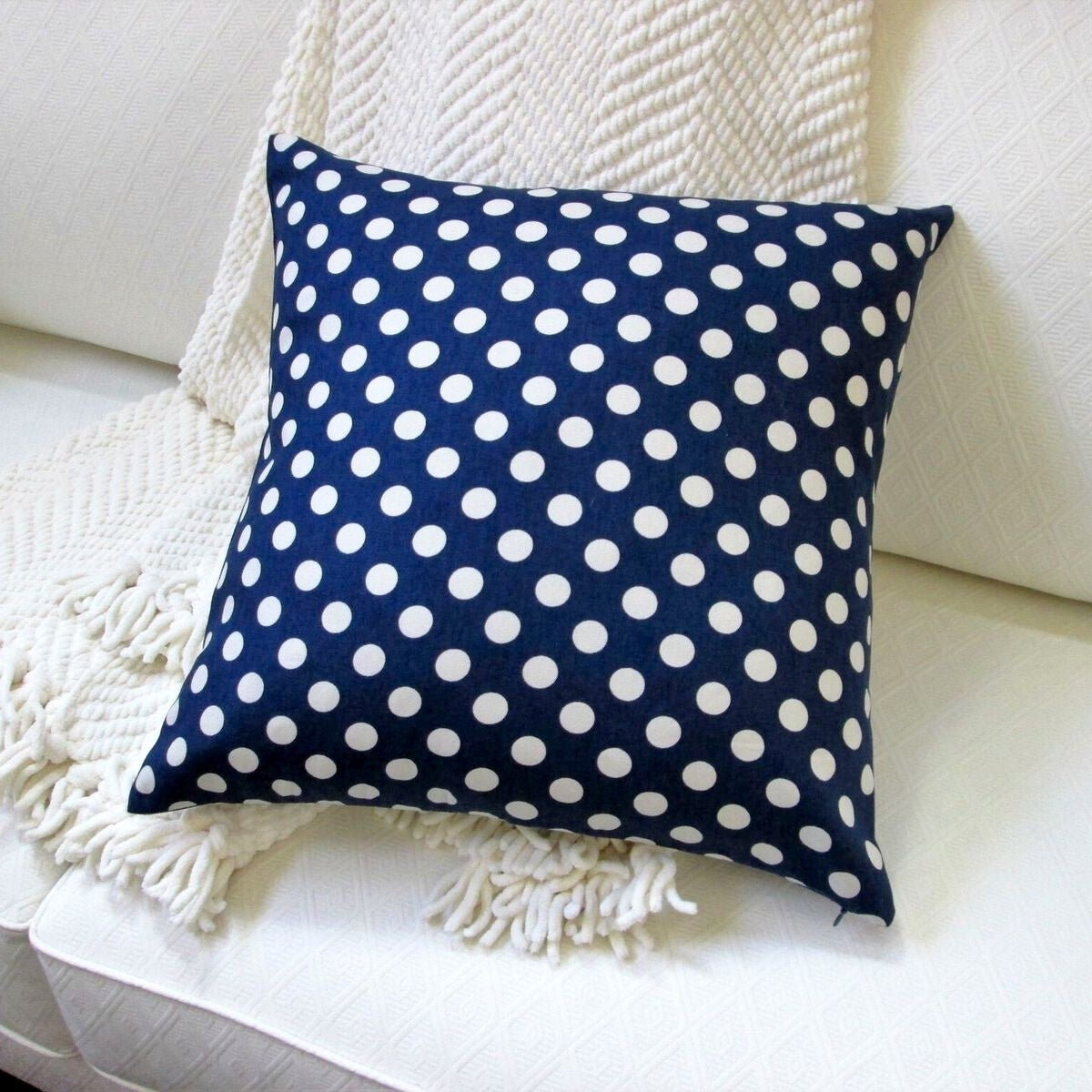 Pillows Indoor 18 Inch Modern Country Cottage Shabby Chic Home Polka Dot Medium In Navy Blue Pillow Cover Only