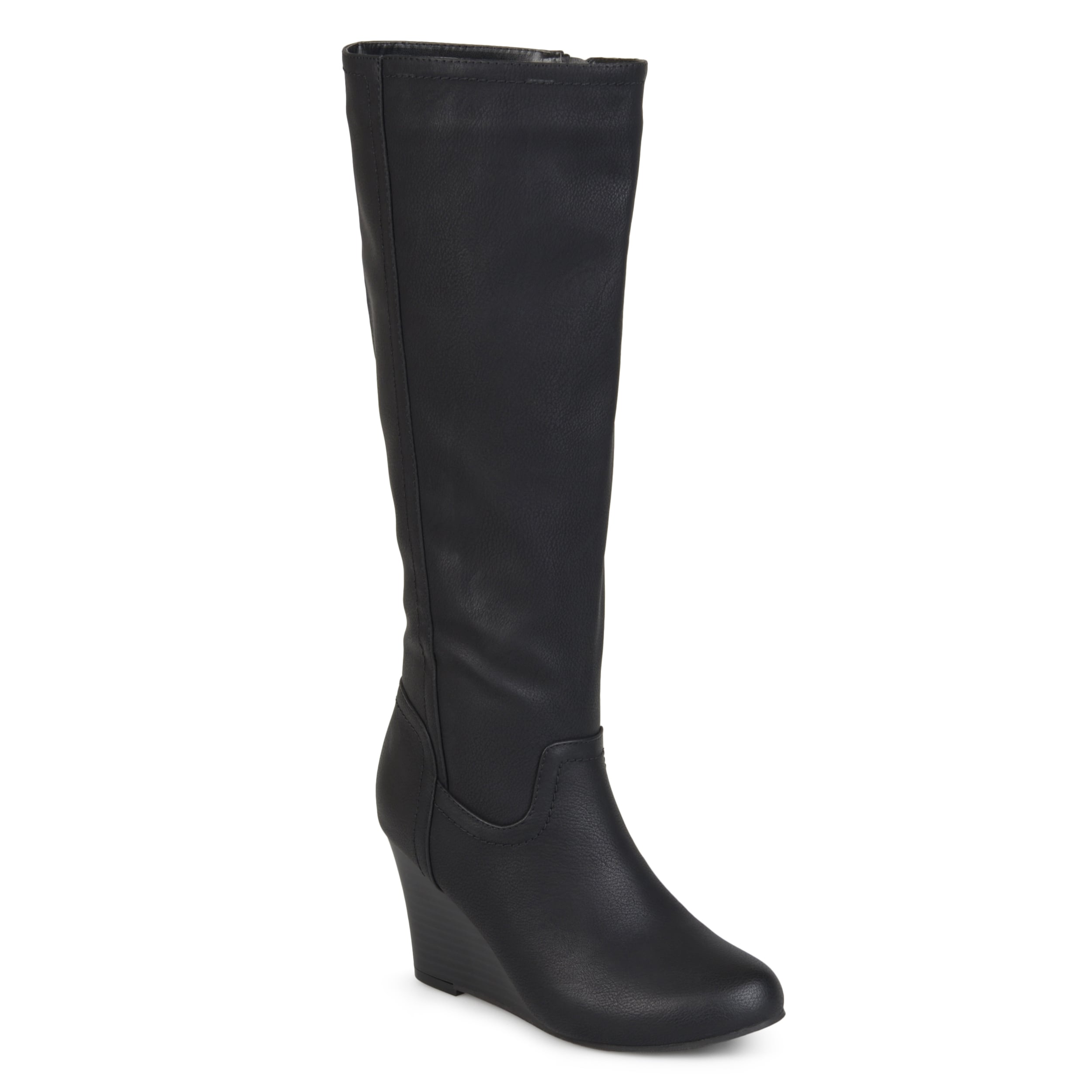 f7489b75d2b2 Journee Collection Women's 'Langly' Regular and Wide Calf Round Toe  Mid-calf Wedge Boots