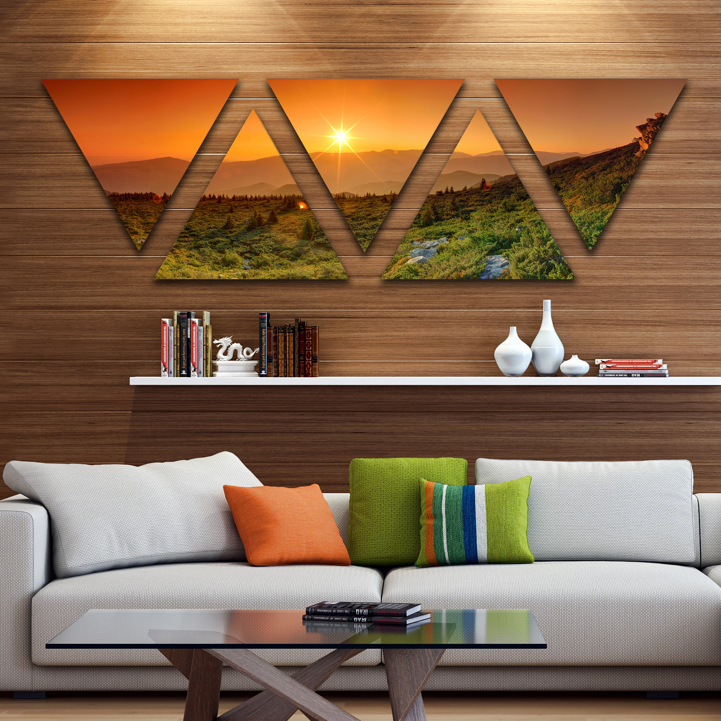 Fine Designart Summer In Mountains Panorama Contemporary Wall Art Triangle Canvas 5 Panels Interior Design Ideas Clesiryabchikinfo