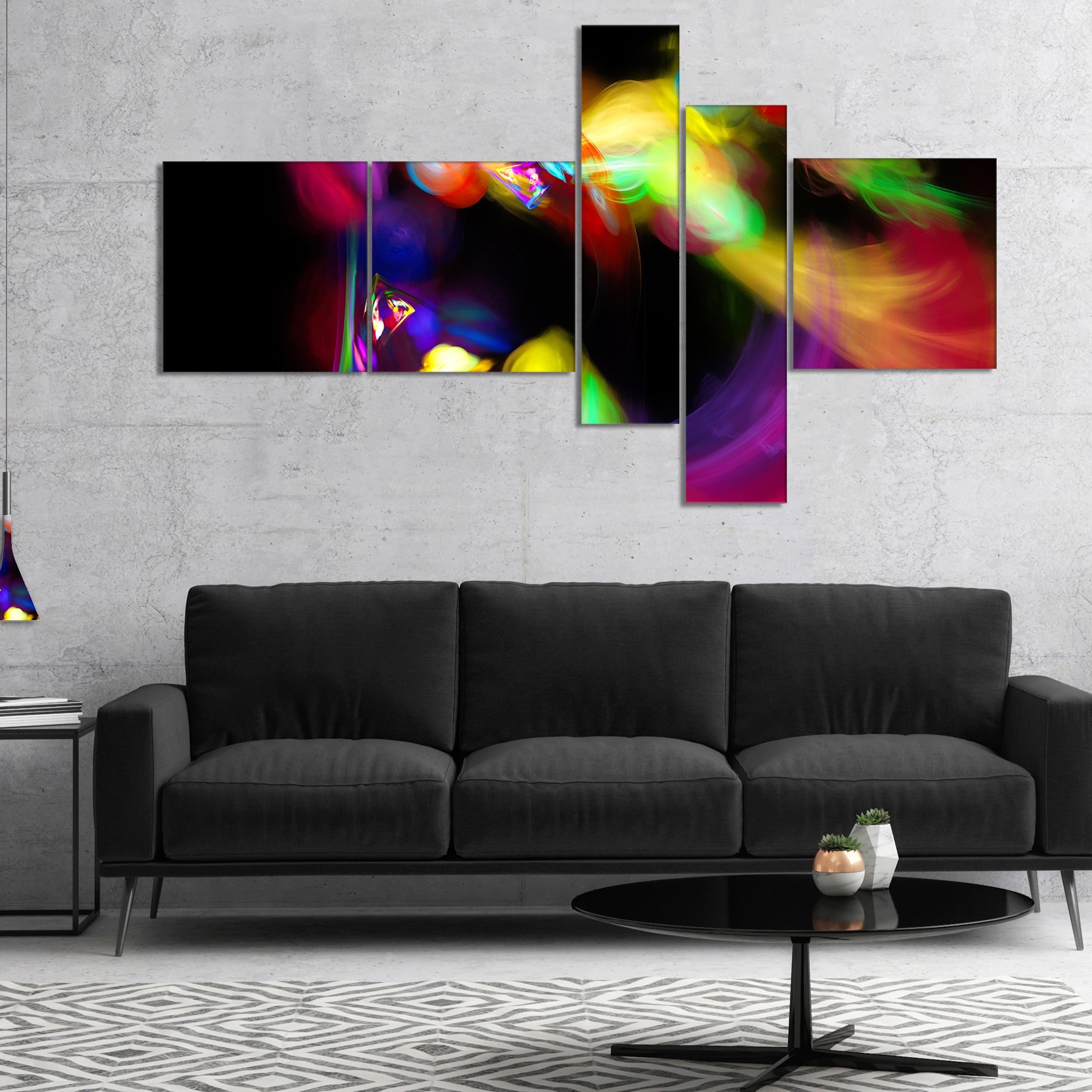 Shop Designart Colorful Smoke Spiral Abstract Canvas art print
