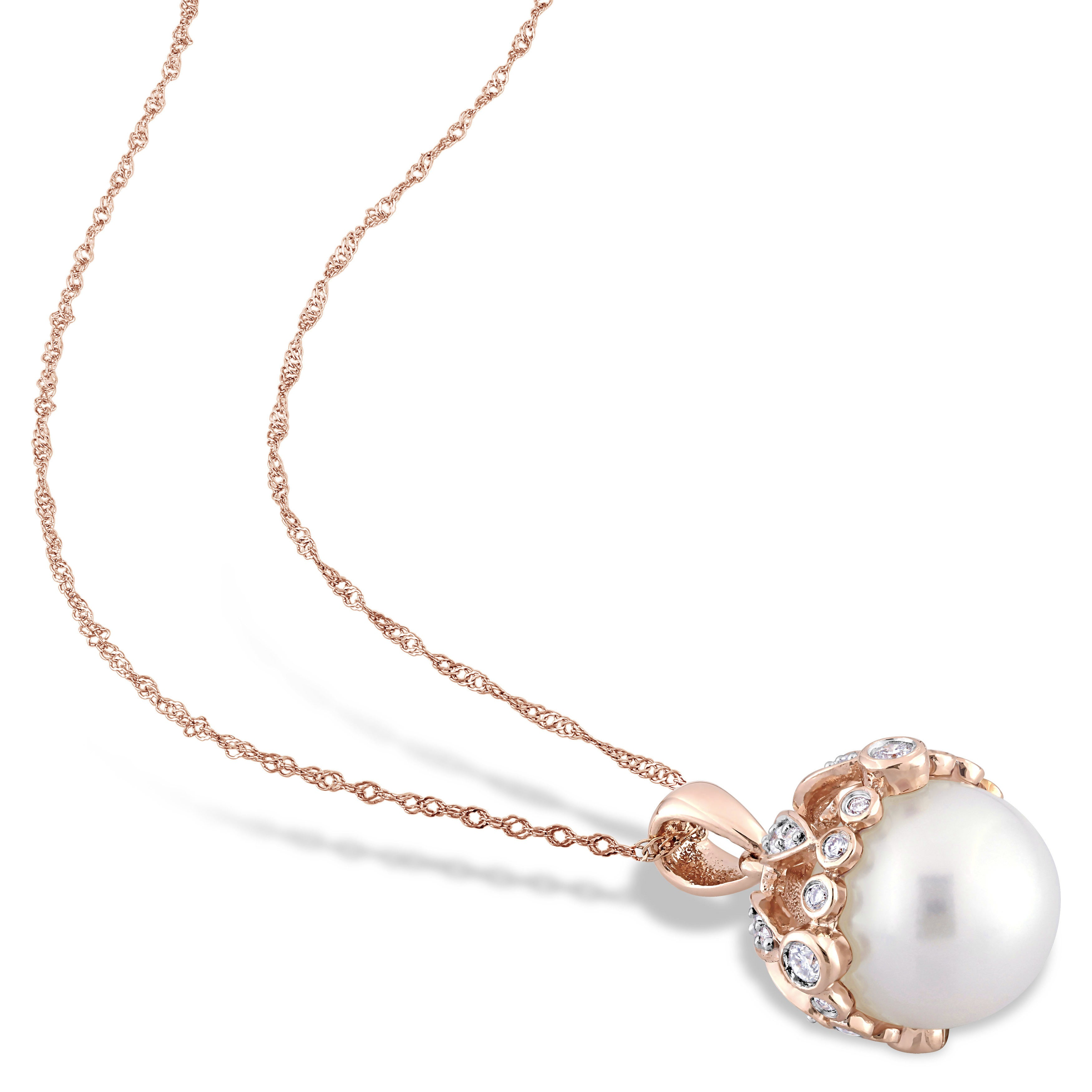 f25c9a3f830258 Shop Miadora Signature Collection 14k Rose Gold Cultured Freshwater Pearl &  1/4ct TDW Diamond Crown Drop Necklace (9-9.5 mm) - White - On Sale - Free  ...