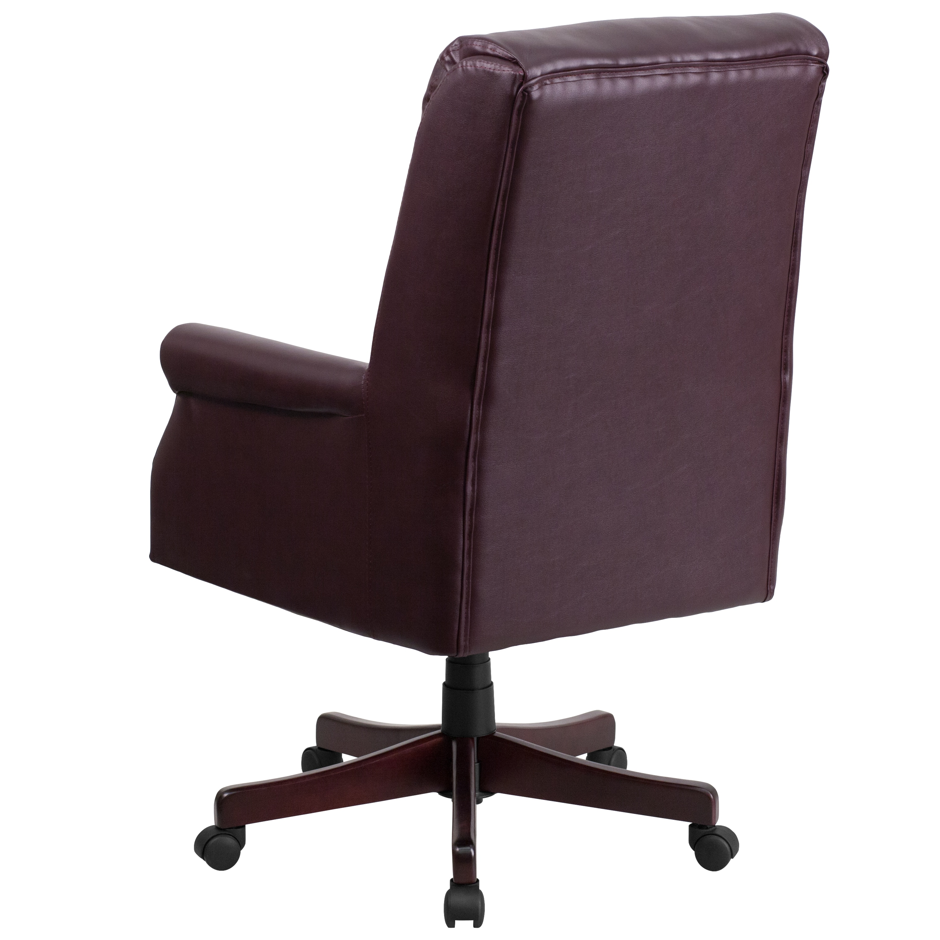 Ceo Pillow Back Executive Burgundy Leather Adjule Swivel Office Chair With Mahogany Wood Base Free Shipping Today 17016248