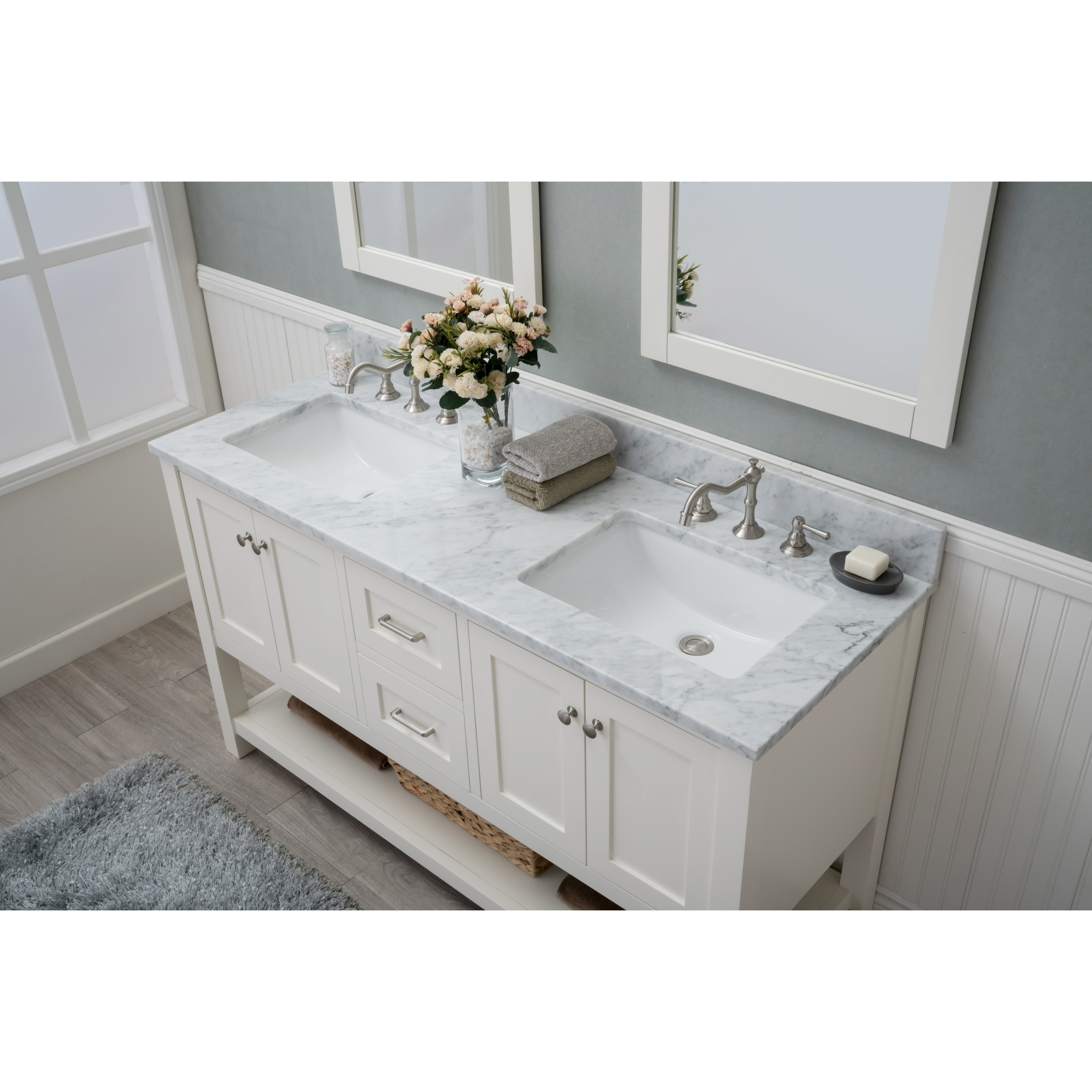 Home Elements Vl60421 White Carrara Marble 60 Inch Cream Vanity Free Shipping Today 17018289