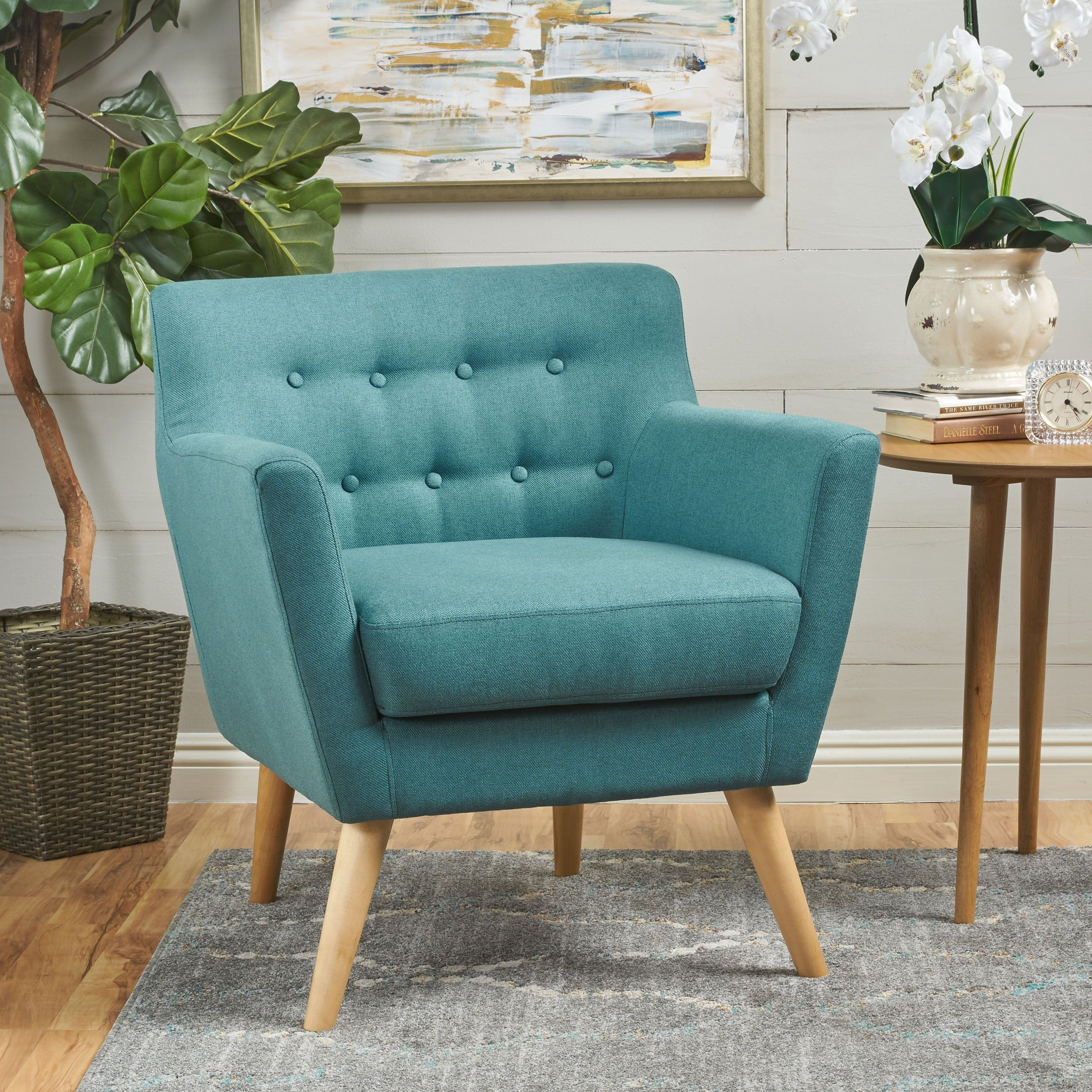 Shop Meena Buttoned Mid Century Modern Fabric Club Chair By Christopher  Knight Home   On Sale   Free Shipping Today   Overstock.com   17019627