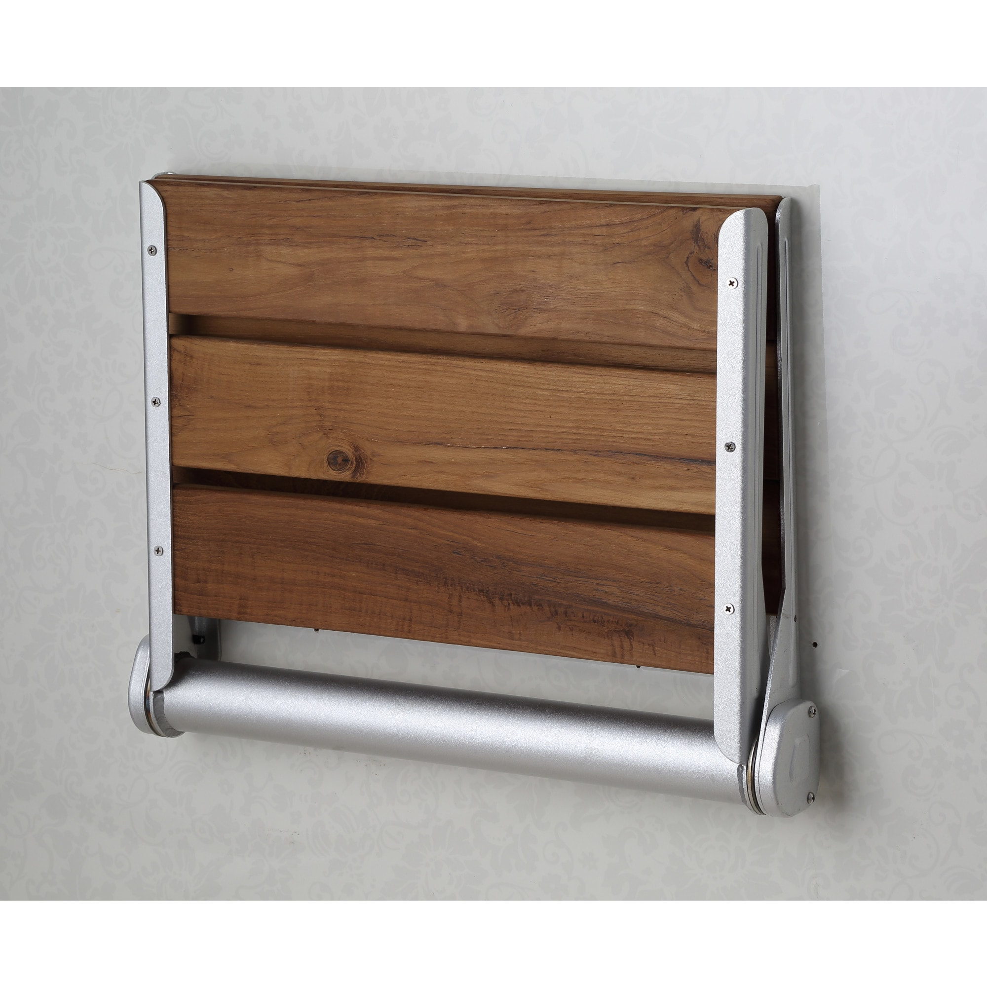Shop ANZZI Saxon Wall Mounted Teak Shower Seat - Free Shipping Today ...
