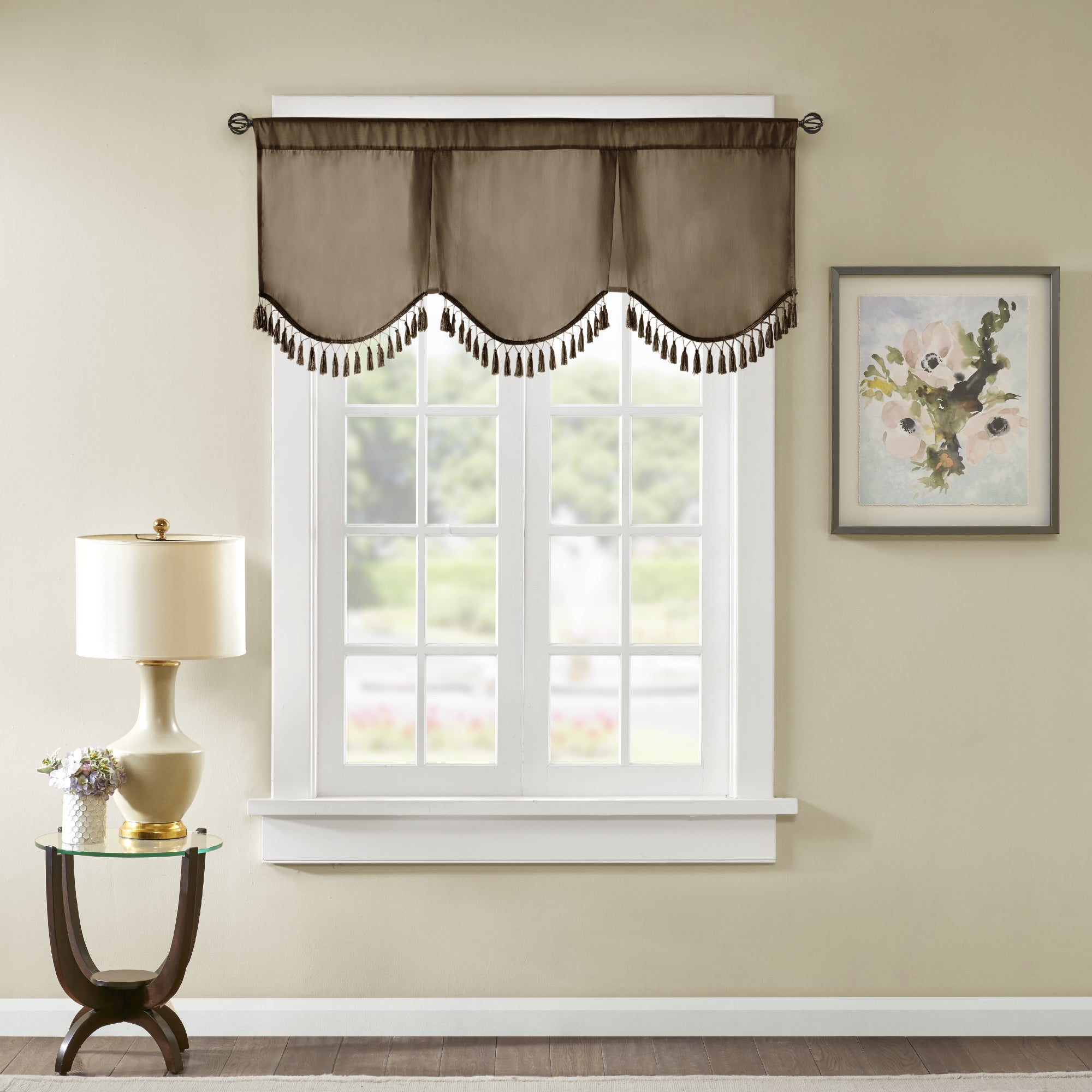 window vignette draperies a by custom millville with fabric valance valence de shade treatments above box pleat