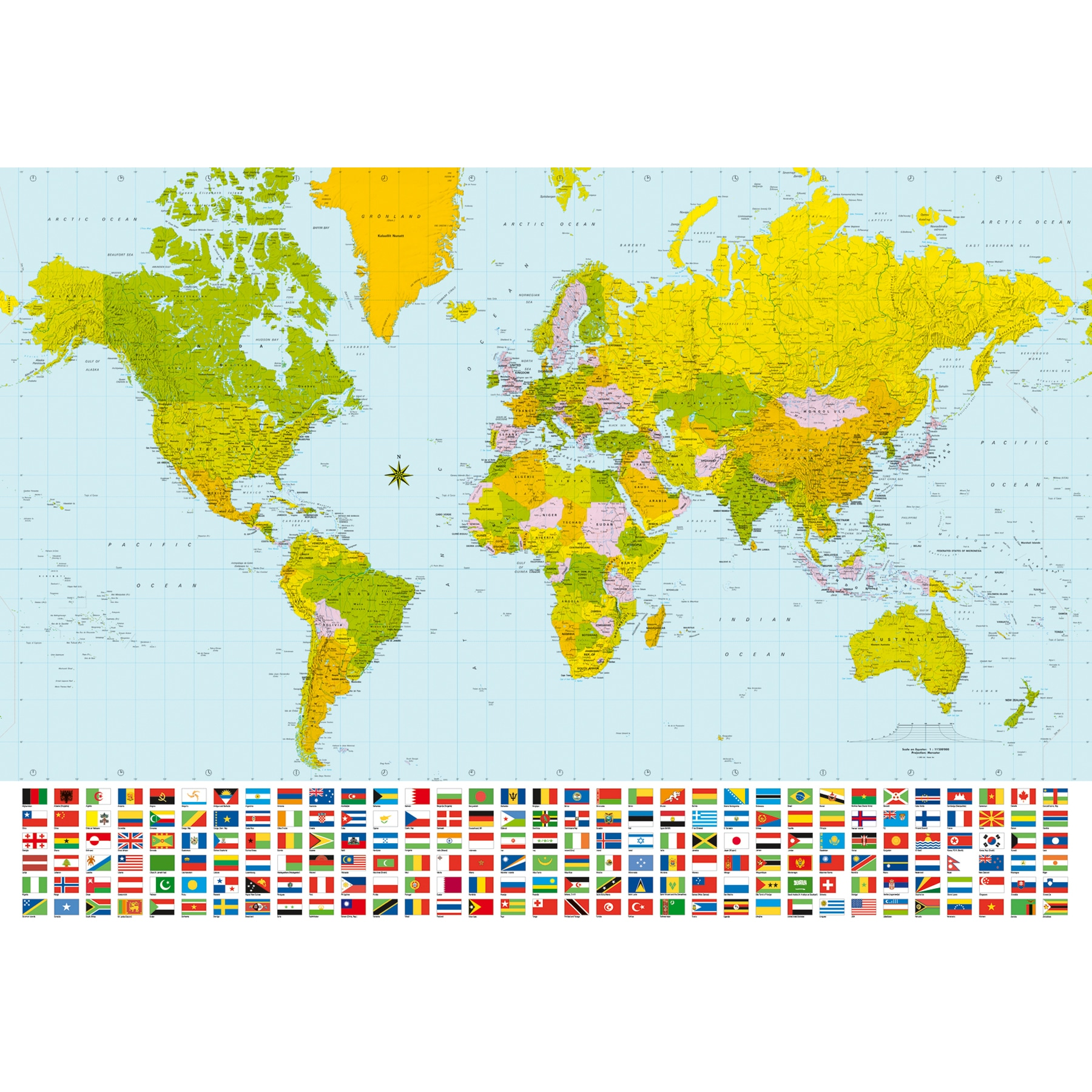 Shop Map Of The World Wall Mural - Free Shipping Today - Overstock ...
