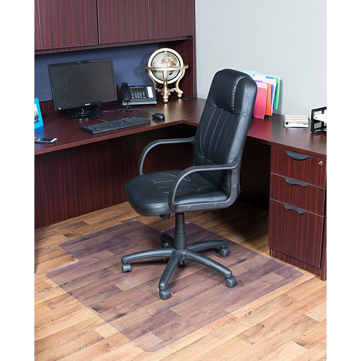 shop dimex 36 x 48 clear office chair mat with lip for hard floors
