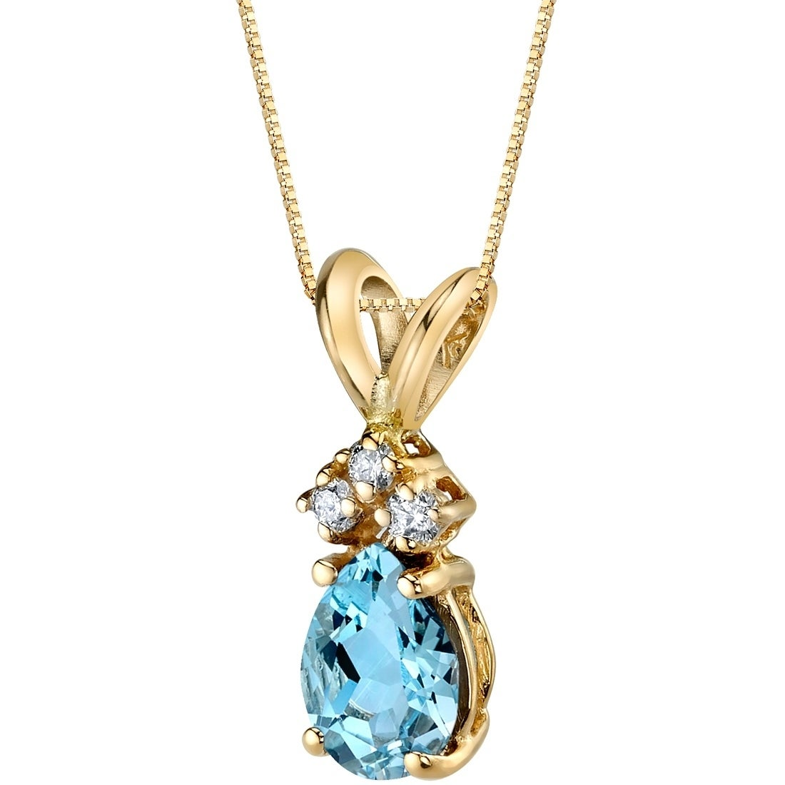 f8cb9c408e2 Shop Oravo 14 Karat Yellow Gold Pear Shape 0.50 Carats Aquamarine Diamond  Pendant - Silver - On Sale - Free Shipping Today - Overstock - 17028232