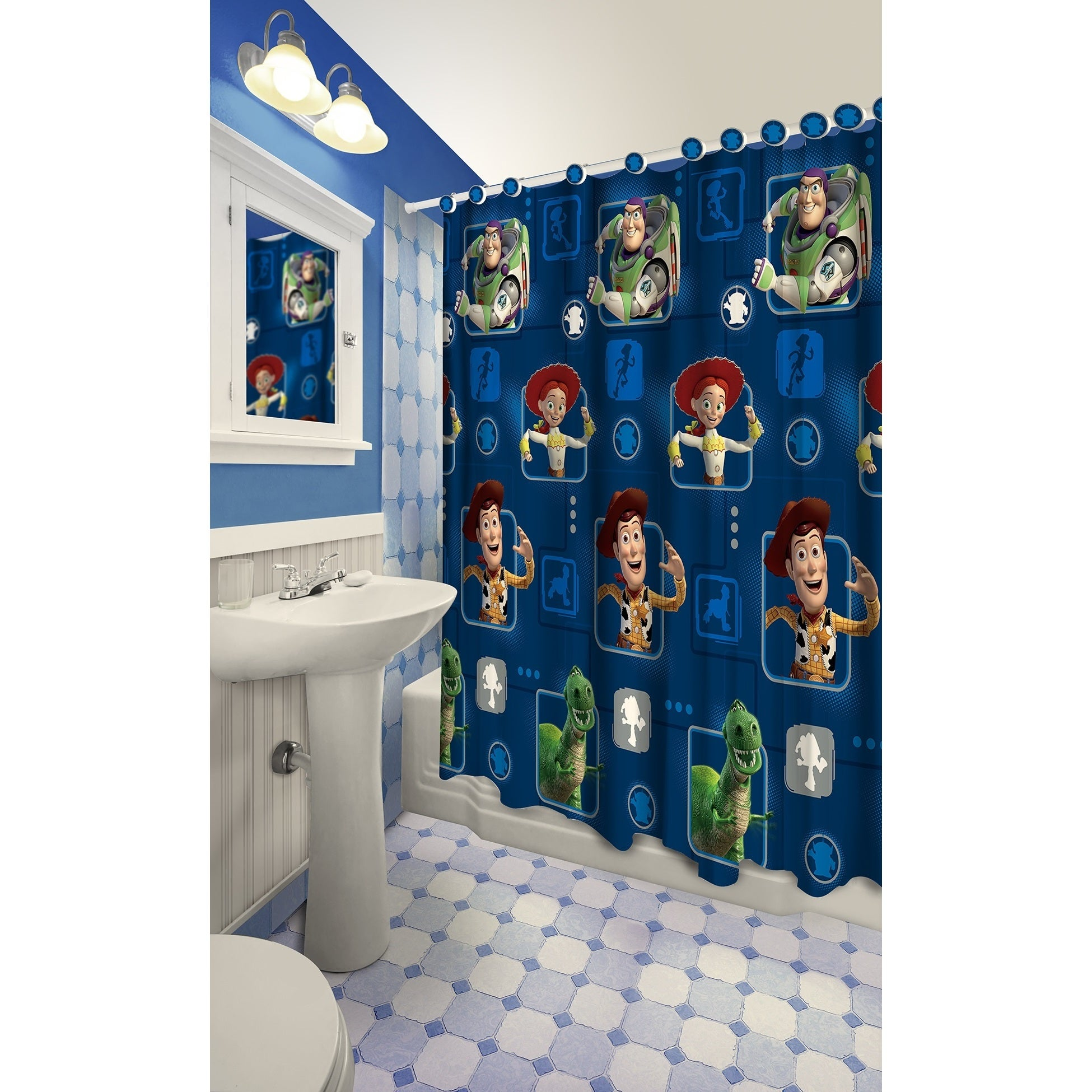 Shop Toy Story Themed Printed Shower Curtain With Hooks