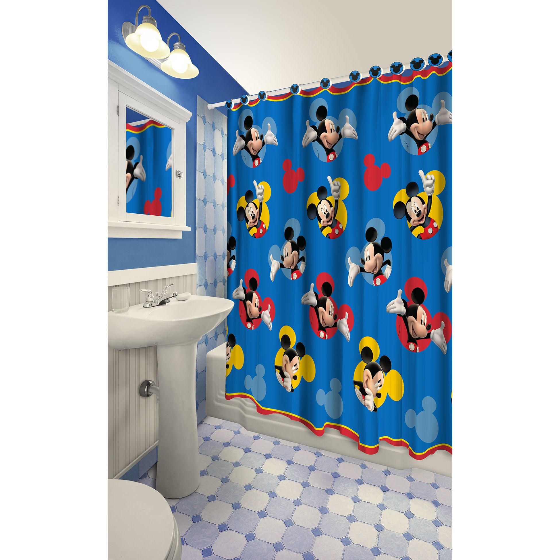Shop Mickey Mouse Themed Printed Shower Curtain With Hooks