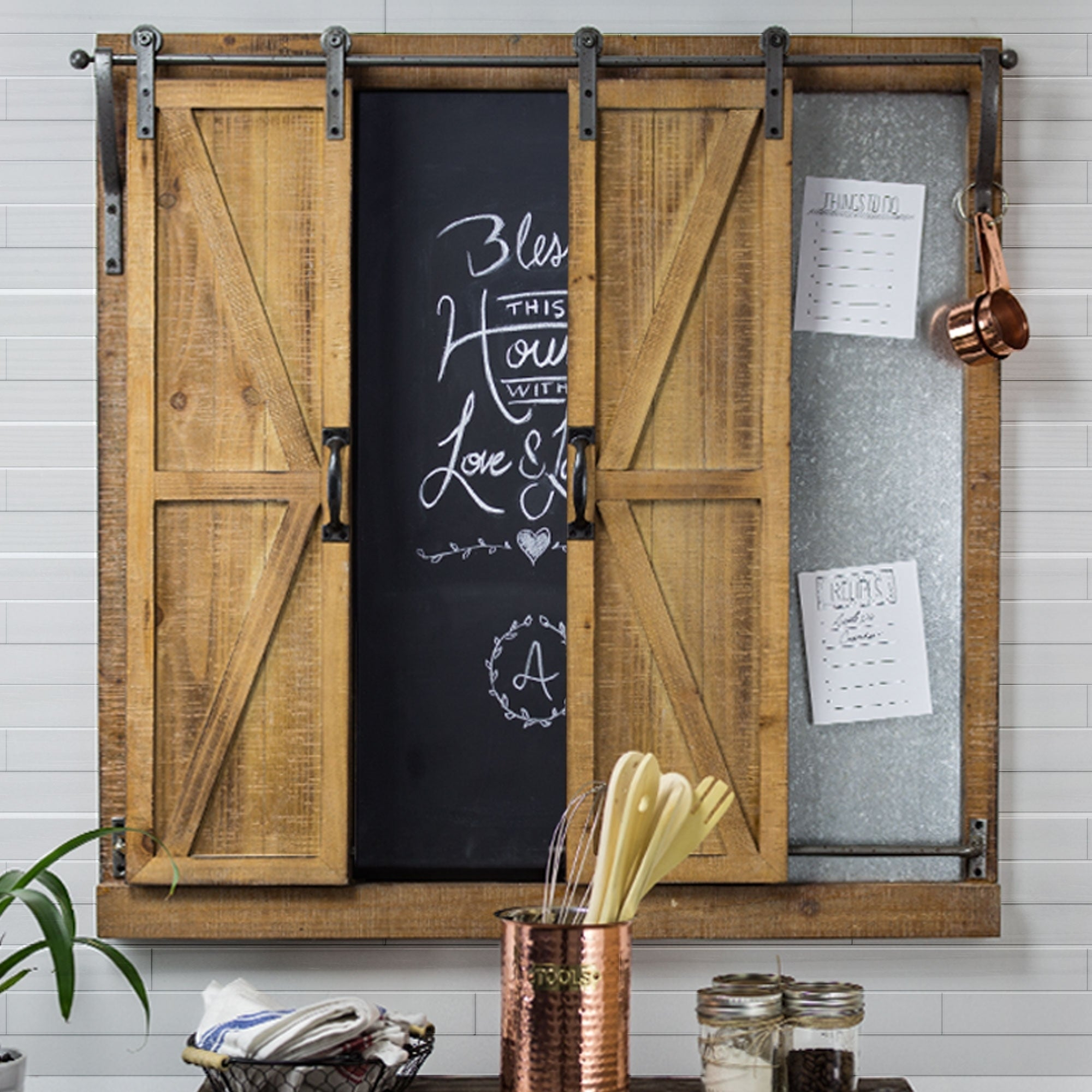 decorative chalkboards for various functions. American Art Decor Chalkboard Sliding Barn Doors Message Board Organizer - Free Shipping Today Overstock 23309835 Decorative Chalkboards For Various Functions L