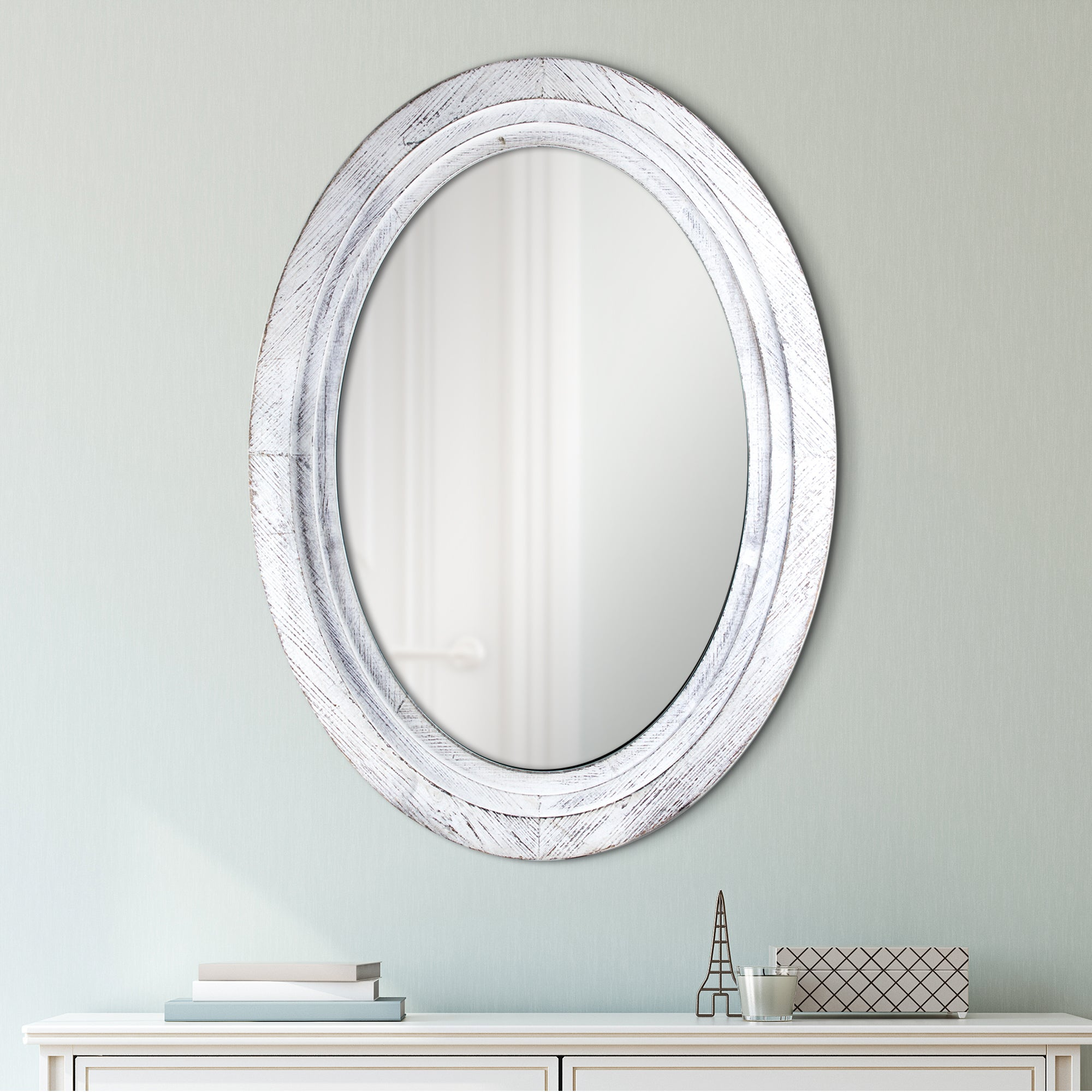 shop oval antiqued white wooden framed wall vanity mirror - antique
