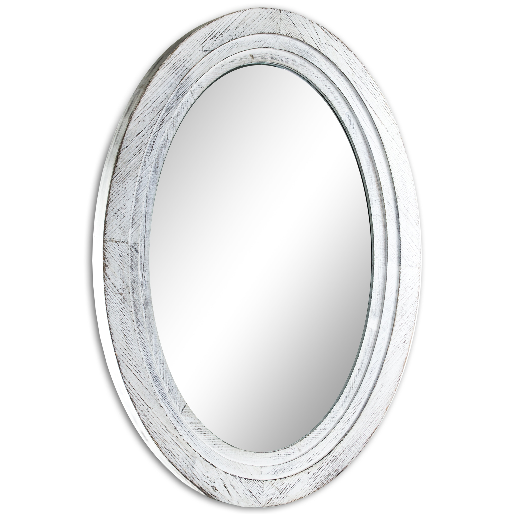 Oval Antiqued White Wooden Framed Wall Vanity Mirror - Antique White ...