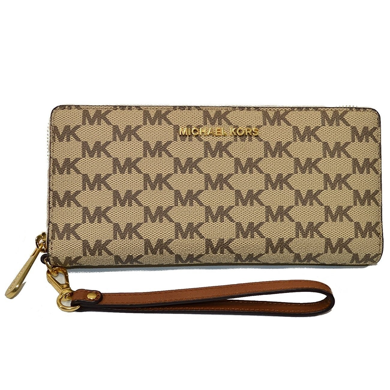 ce7a981385d089 Shop Michael Kors Jet Set Travel Logo Continental Natural/Luggage Wristlet  - Free Shipping Today - Overstock - 17031657