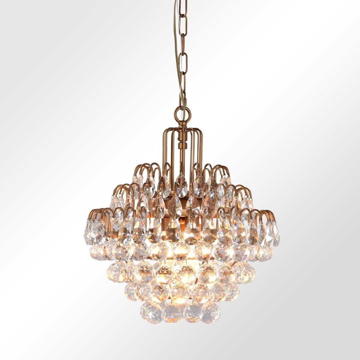 Thayer Antique Brass 3-Light Teardrop Crystal Chandelier by Kosas Home - Antique  Brass Finish - 17H x 16W x 16D - Shop Thayer Antique Brass 3-Light Teardrop Crystal Chandelier By