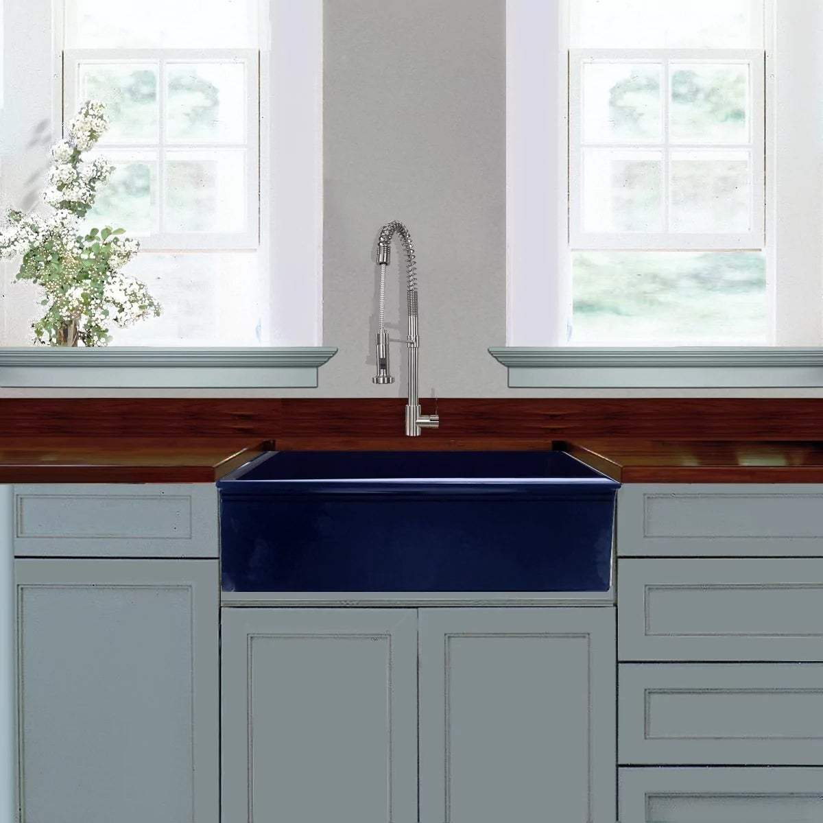 Highpoint Collection Cobalt Blue Reversible Farmhouse Fireclay Sink Free Shipping Today 17031766