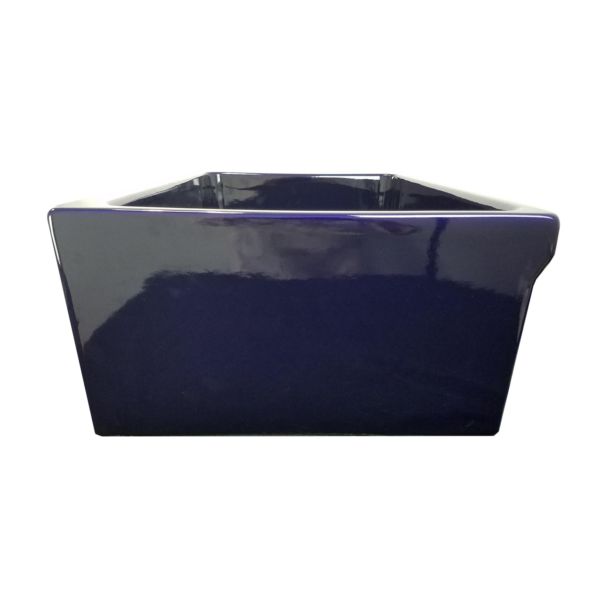 Shop Highpoint Collection Cobalt Blue Reversible Farmhouse Fireclay ...
