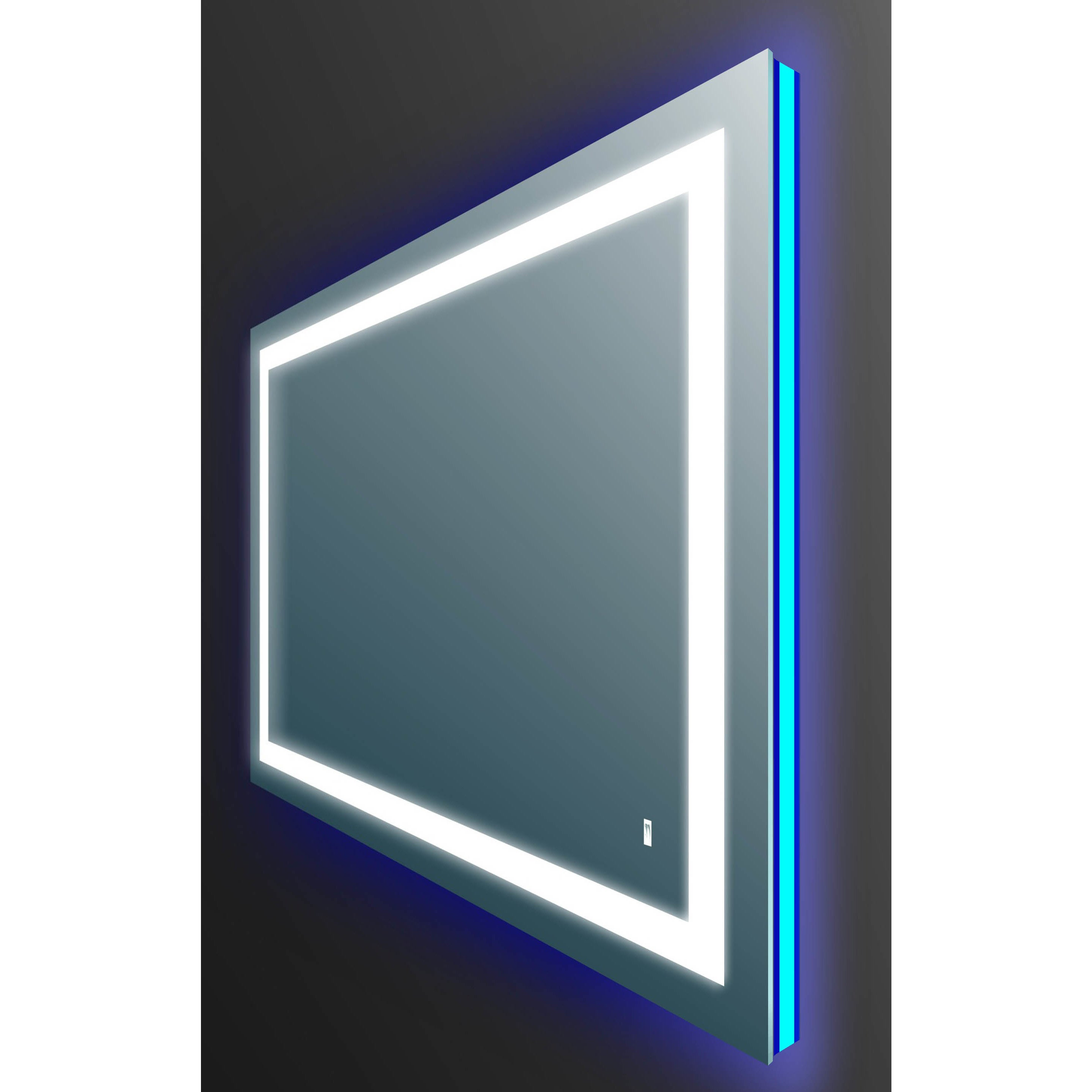 Eviva Silvertone Metal Lighted Backlit LED Wall-mounted Mirror with ...