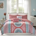 Intelligent Design Eleni Coral Printed 5-piece Coverlet Set