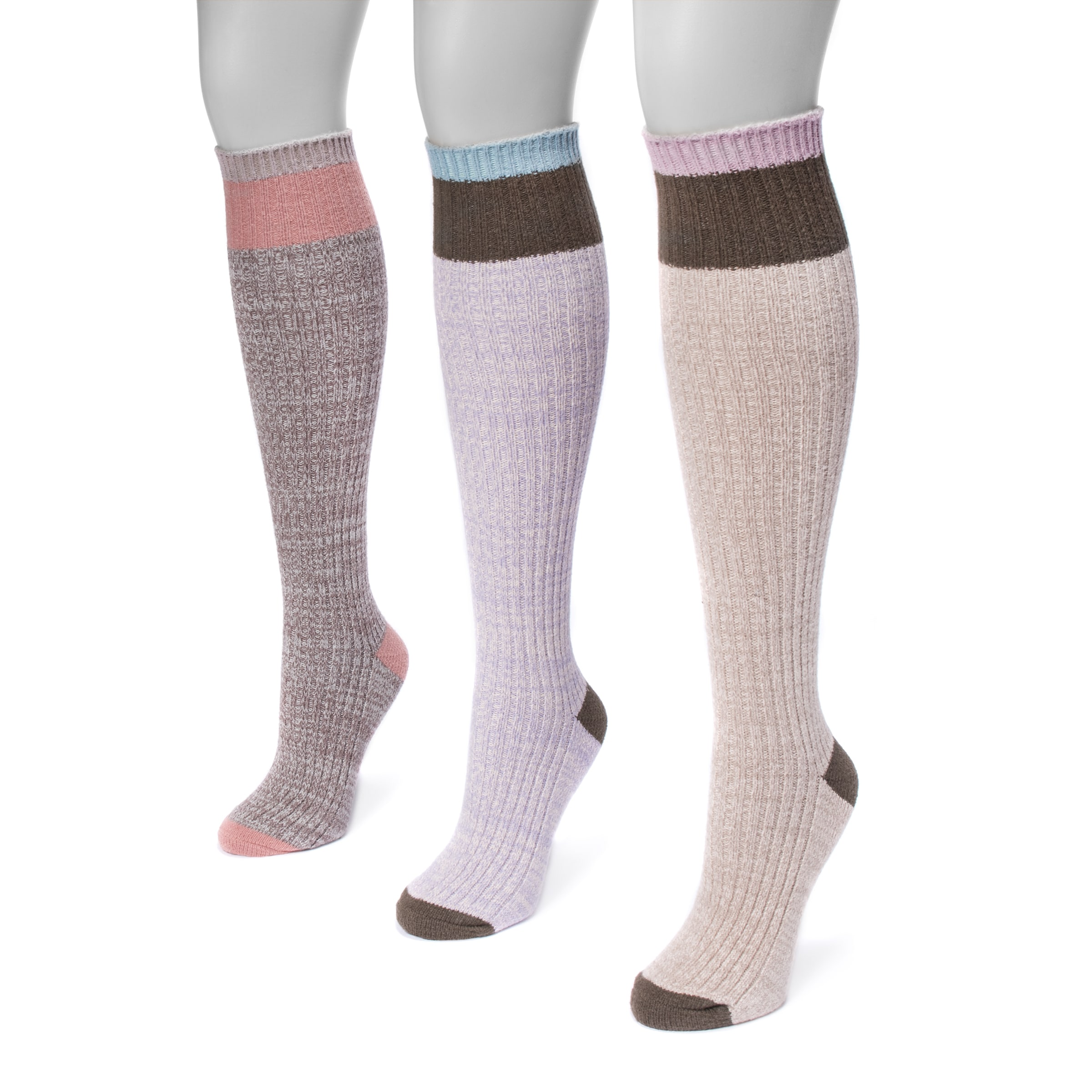 858661036 Shop MUK LUKS® Women s 3 Pair Pack Color Block Knee High Socks - Free  Shipping On Orders Over  45 - Overstock - 17033757