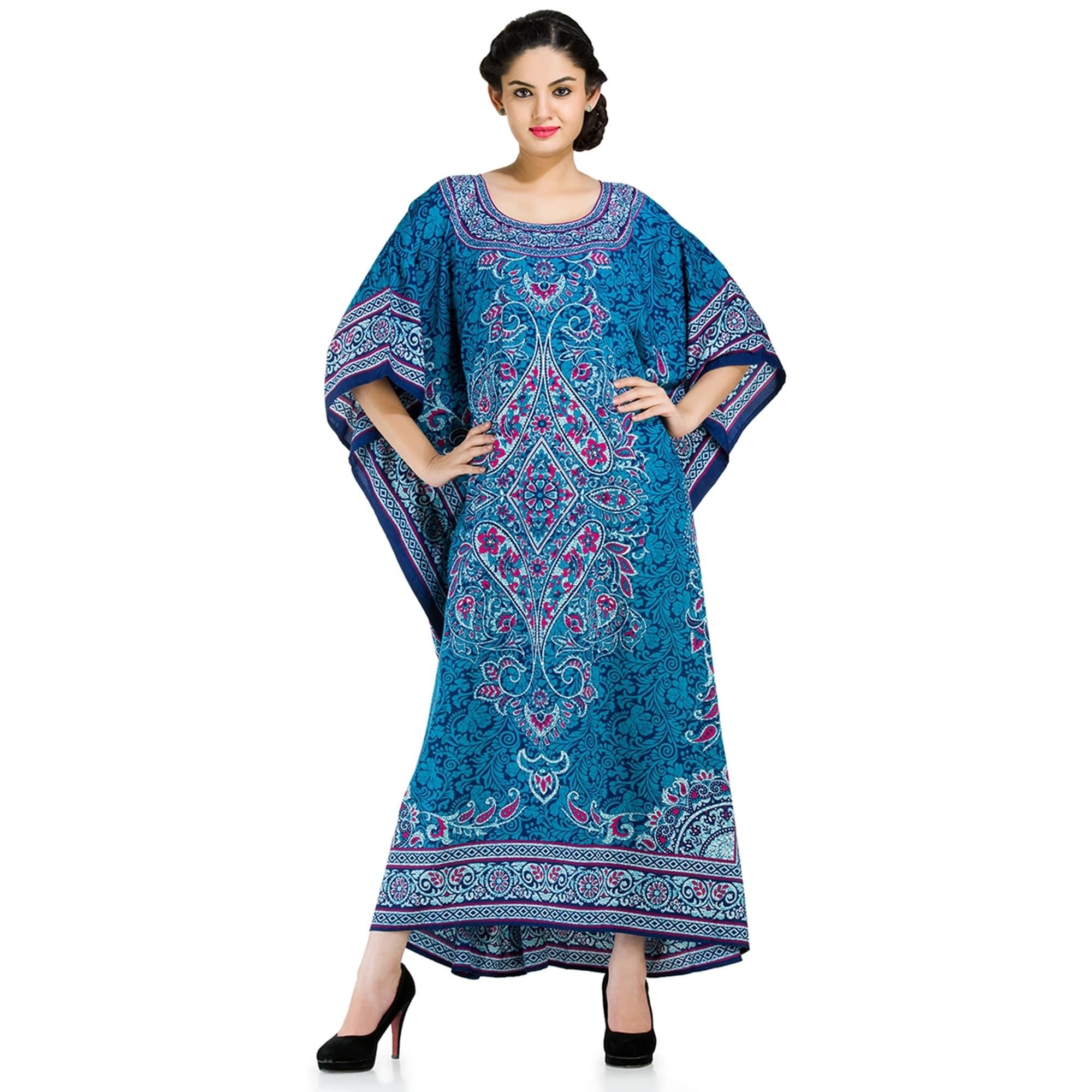 Shop Long Caftan Dress Blue Maxi Floral Kaftan Plus Size - Free ...