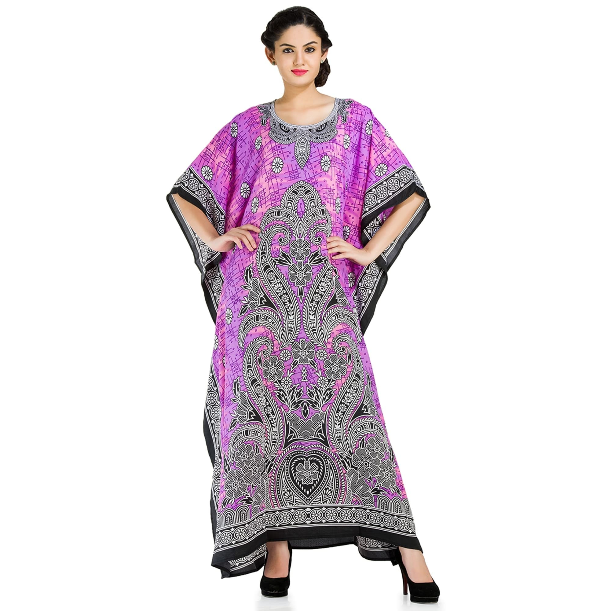 f92325ab88b Shop Comfortable Caftans Kimono Dress with Purple Colored Floral Print  Women s Caftan Dress - Free Shipping Today - Overstock - 17037609
