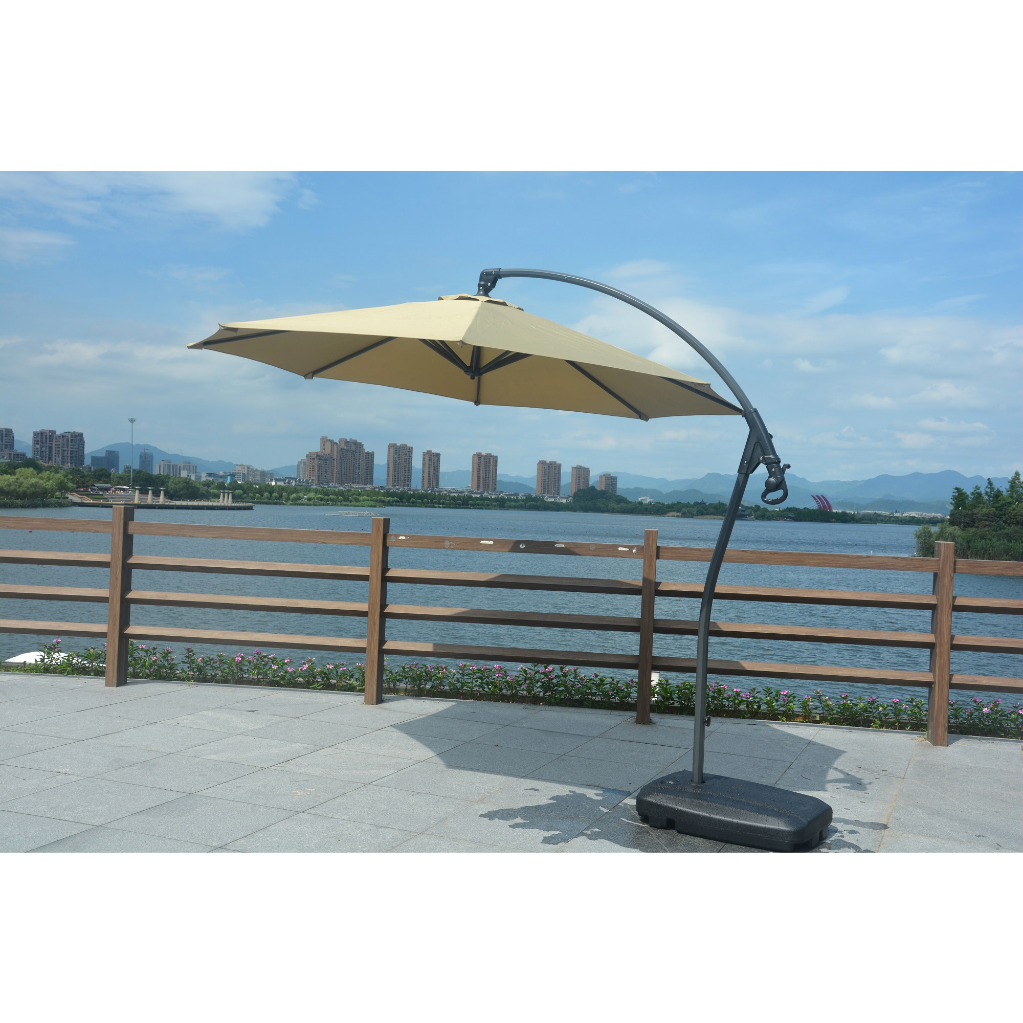Adjule Offset Cantilever Patio Umbrella With Crank And Base By Direct Wicker