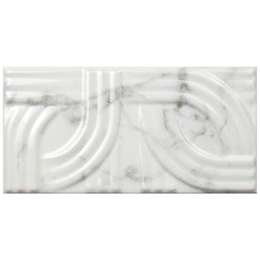 Somertile 3x6 Inch Carra Carrara Glossy Metropolis Ceramic Wall Tile 80 Tiles 10 Sqft