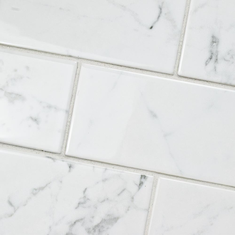 Shop Somertile 3x6 Inch Carra Carrara Glossy Ceramic Wall Tile 88