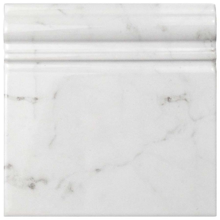 SomerTile 6x6-inch Carra Carrara Glossy Skirting Base Ceramic Wall ...