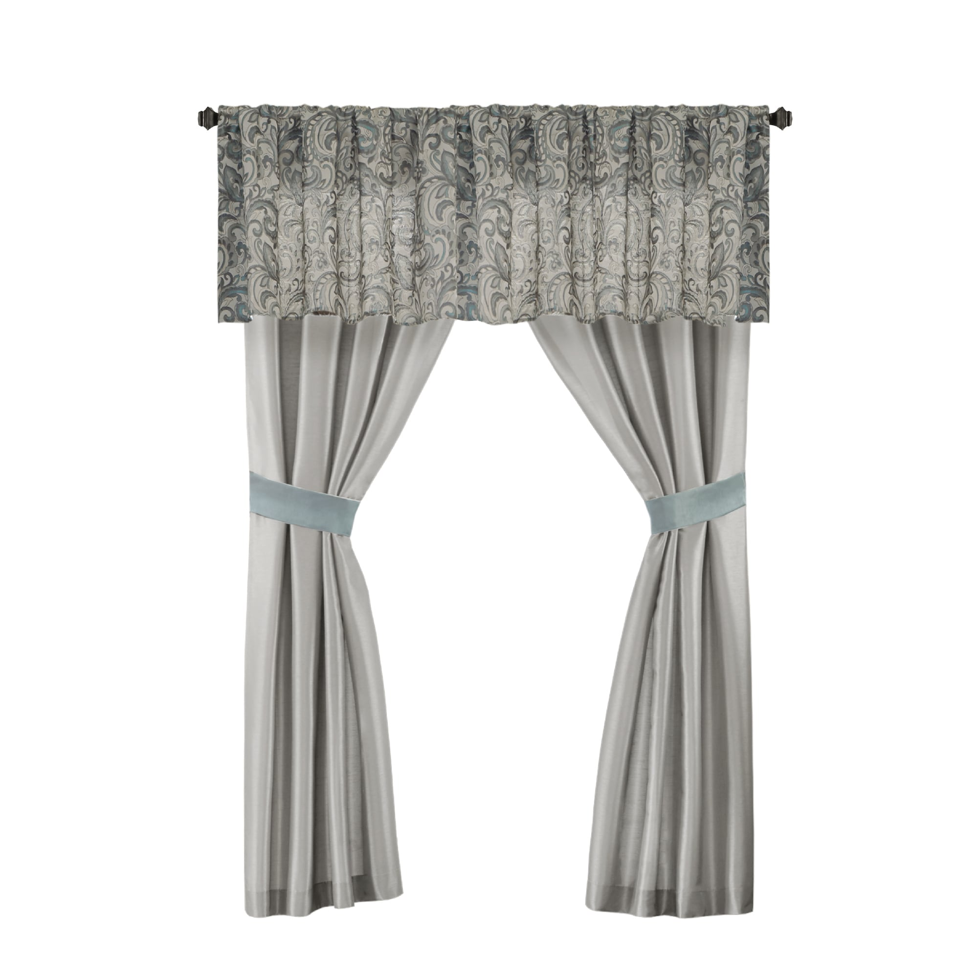 be15a7f6ad4 Shop Madison Park Essentials Cadence Teal Jacquard Paisley 24 Pieces Room  in a Bag - Sheet Set   Window Curtain Inlcuded - Ships To Canada -  Overstock - ...