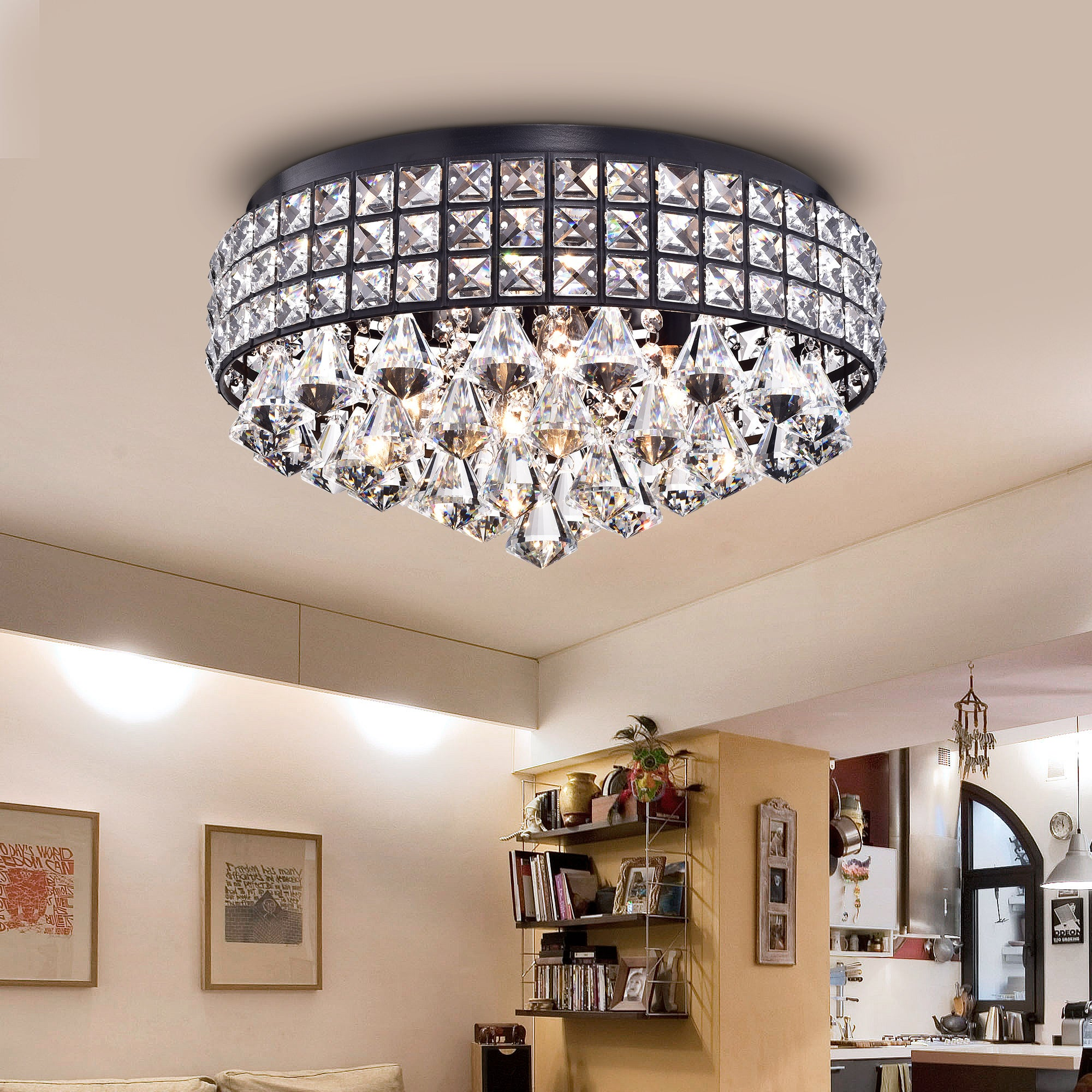 Shop Simeone Crystal and Black Metal 4-light Semi-flush Lamp - Free ...